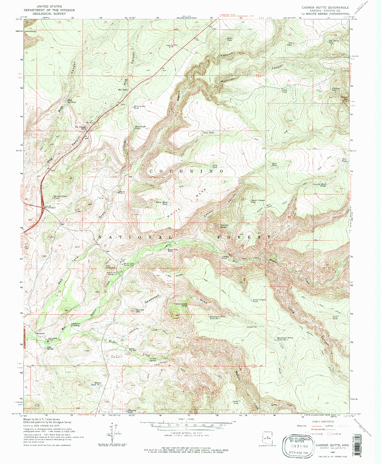 USGS 1:24000-SCALE QUADRANGLE FOR CASNER BUTTE, AZ 1965