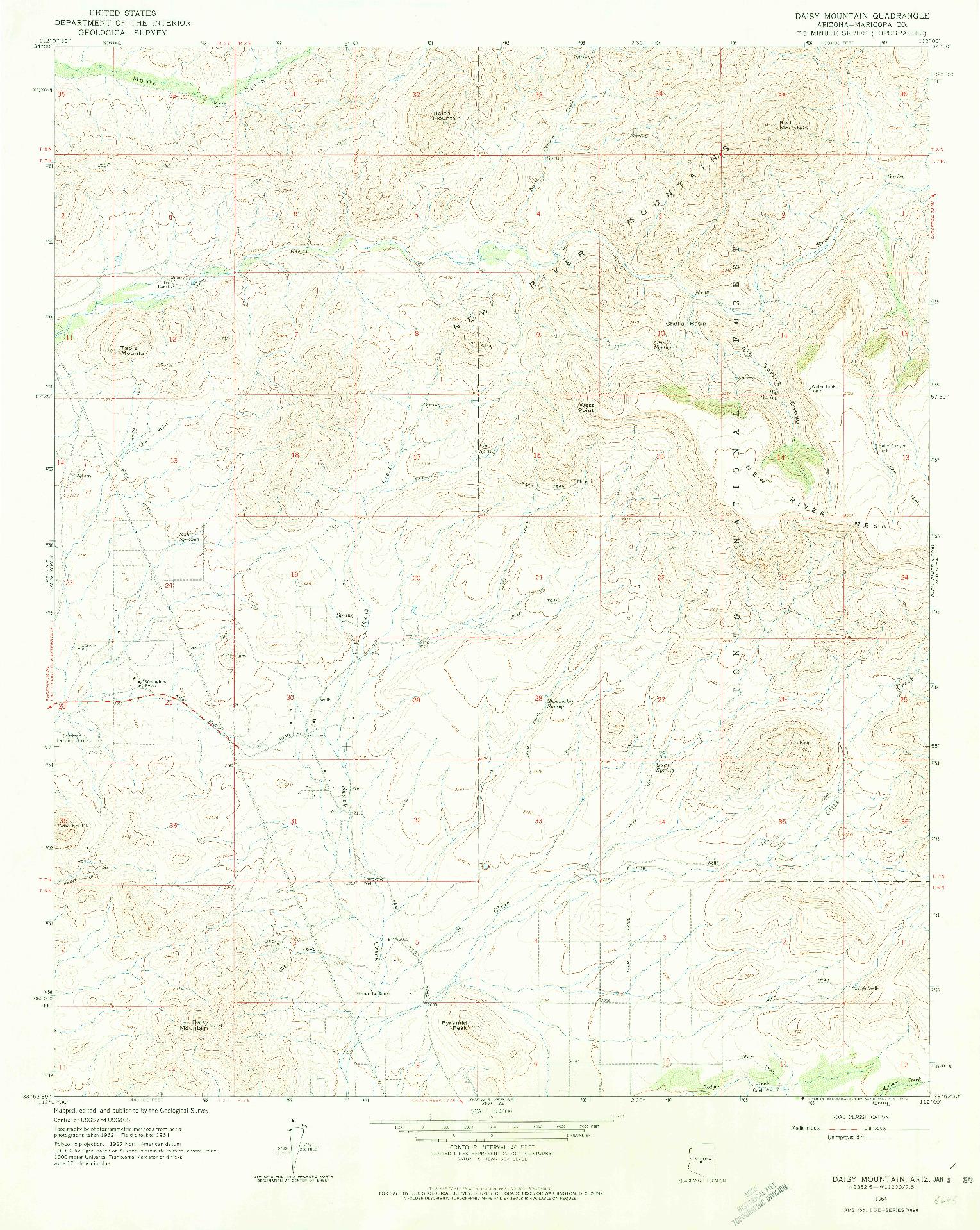 USGS 1:24000-SCALE QUADRANGLE FOR DAISY MOUNTAIN, AZ 1964