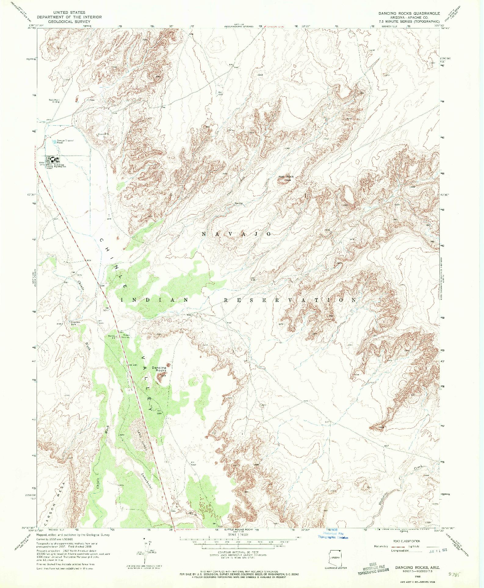 USGS 1:24000-SCALE QUADRANGLE FOR DANCING ROCKS, AZ 1968