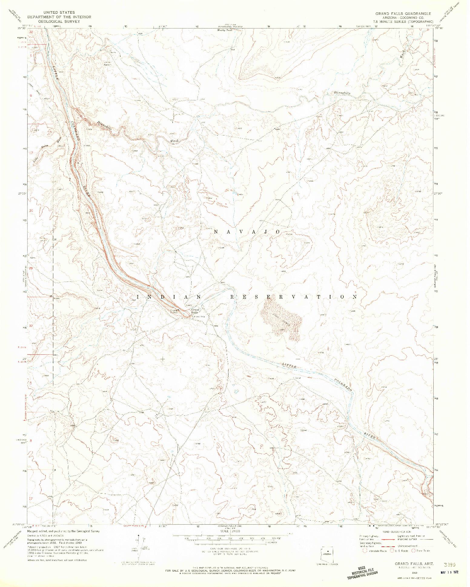 USGS 1:24000-SCALE QUADRANGLE FOR GRAND FALLS, AZ 1969