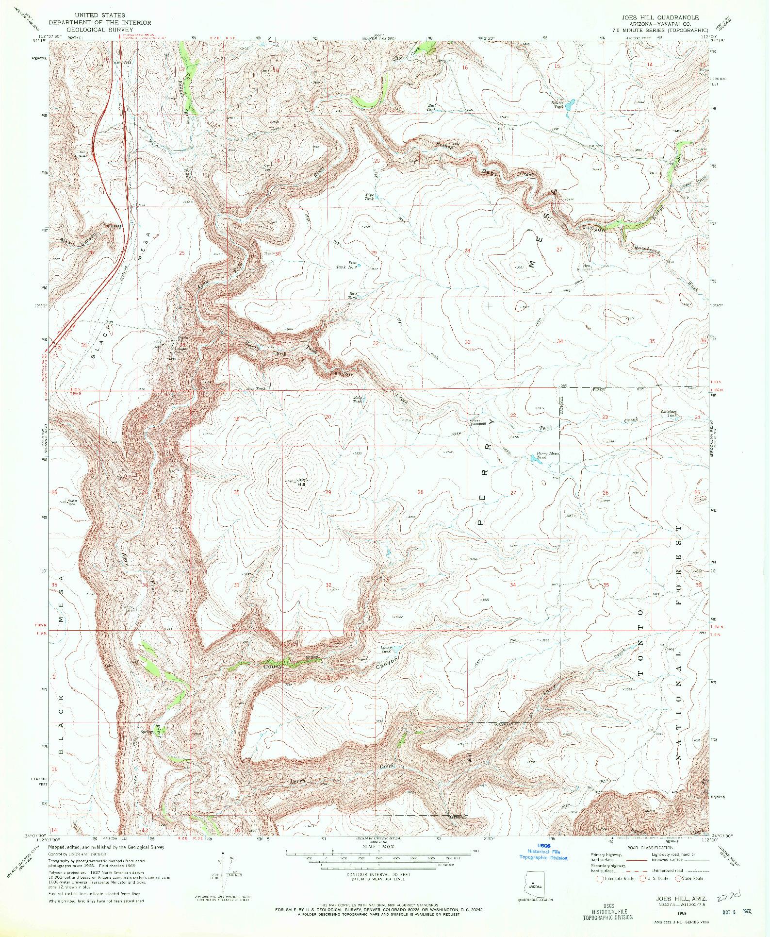 USGS 1:24000-SCALE QUADRANGLE FOR JOES HILL, AZ 1969