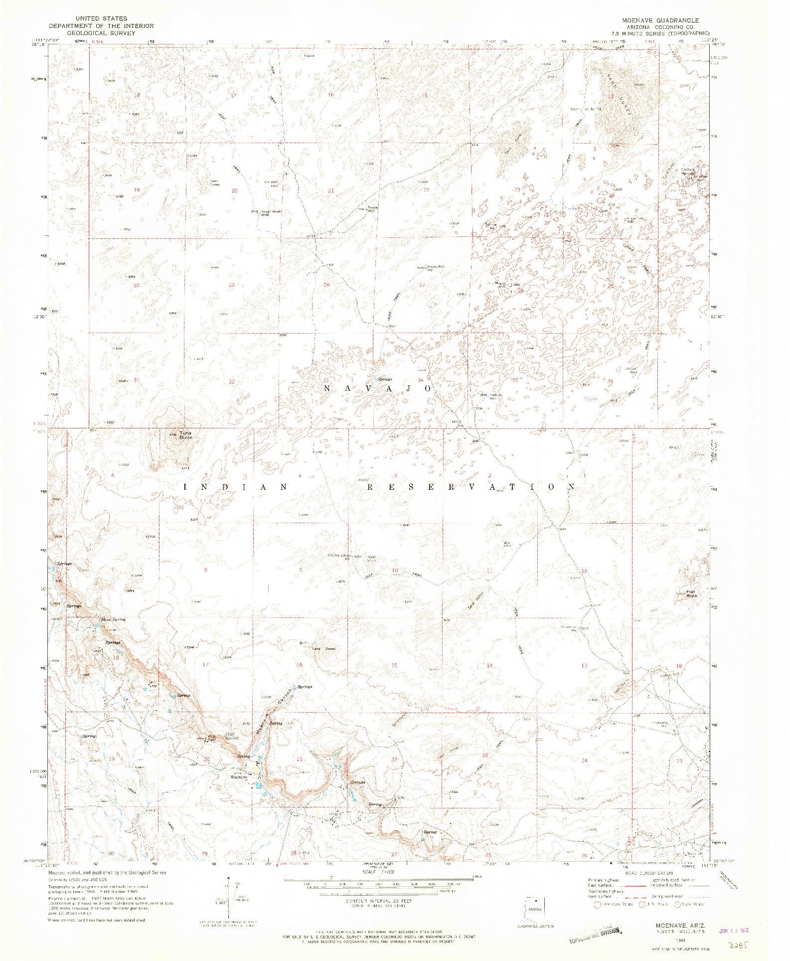 USGS 1:24000-SCALE QUADRANGLE FOR MOENAVE, AZ 1969