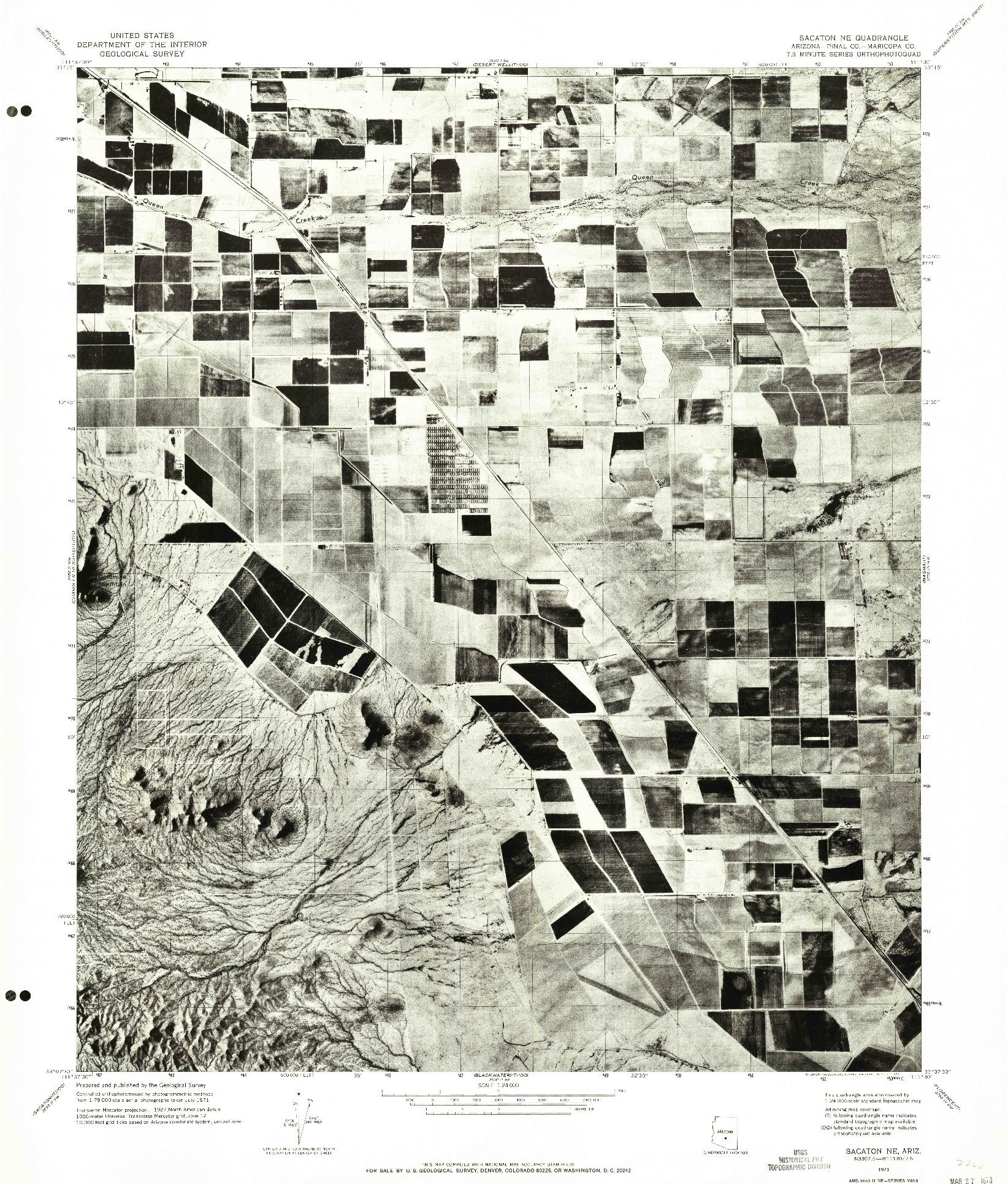USGS 1:24000-SCALE QUADRANGLE FOR SACATON NE, AZ 1971