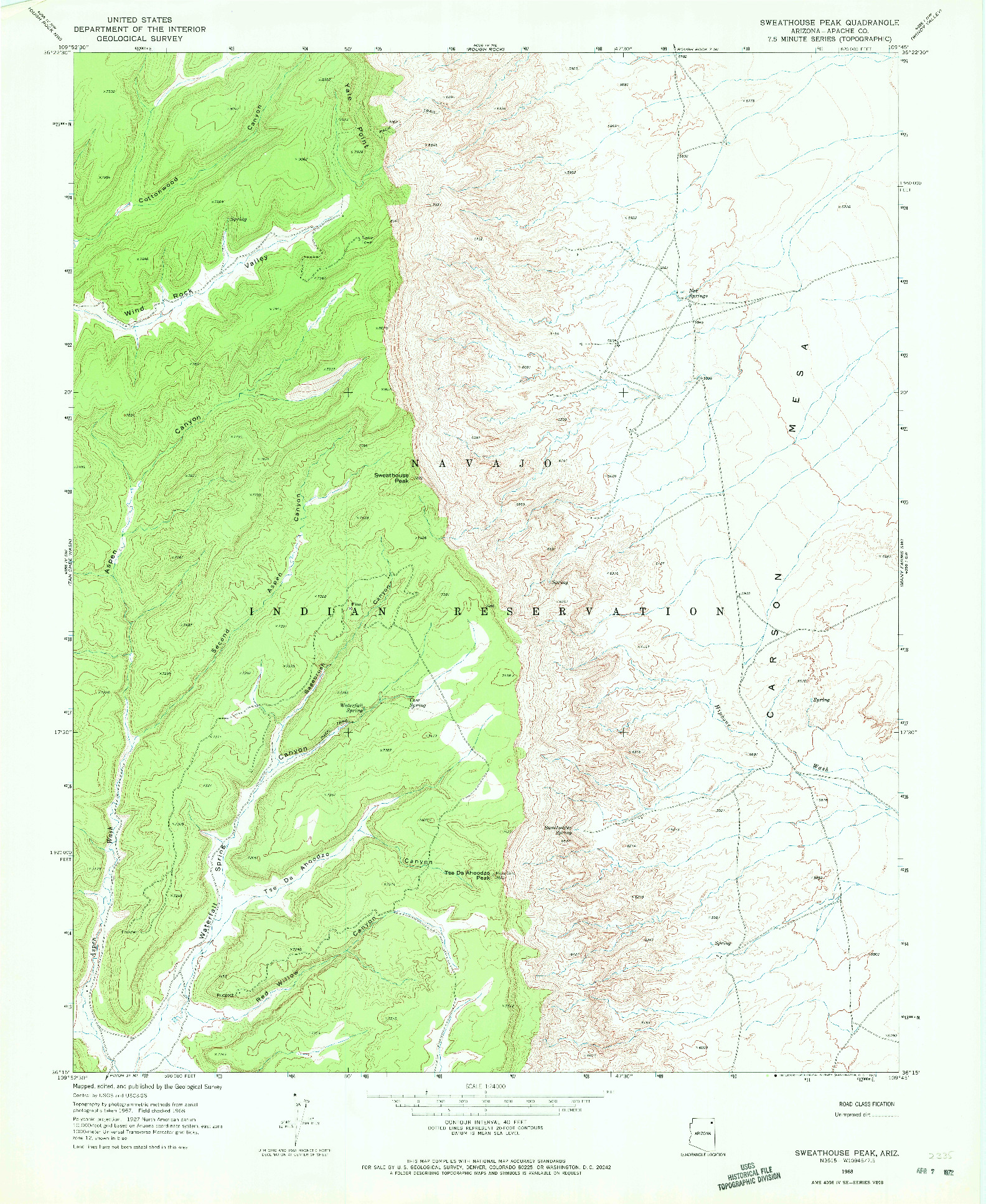 USGS 1:24000-SCALE QUADRANGLE FOR SWEATHOUSE PEAK, AZ 1968