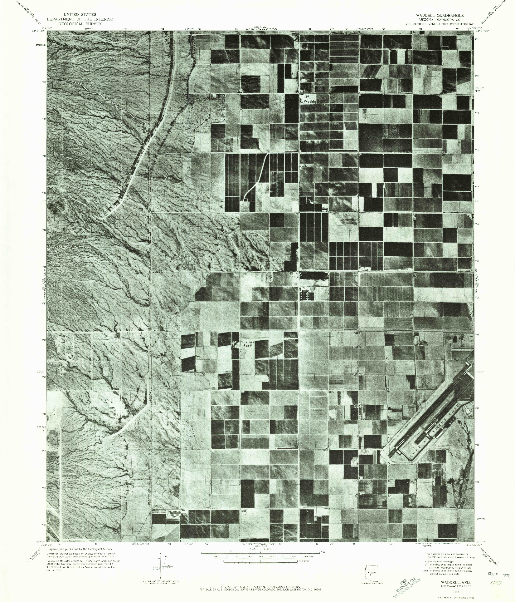 USGS 1:24000-SCALE QUADRANGLE FOR WADDELL, AZ 1971