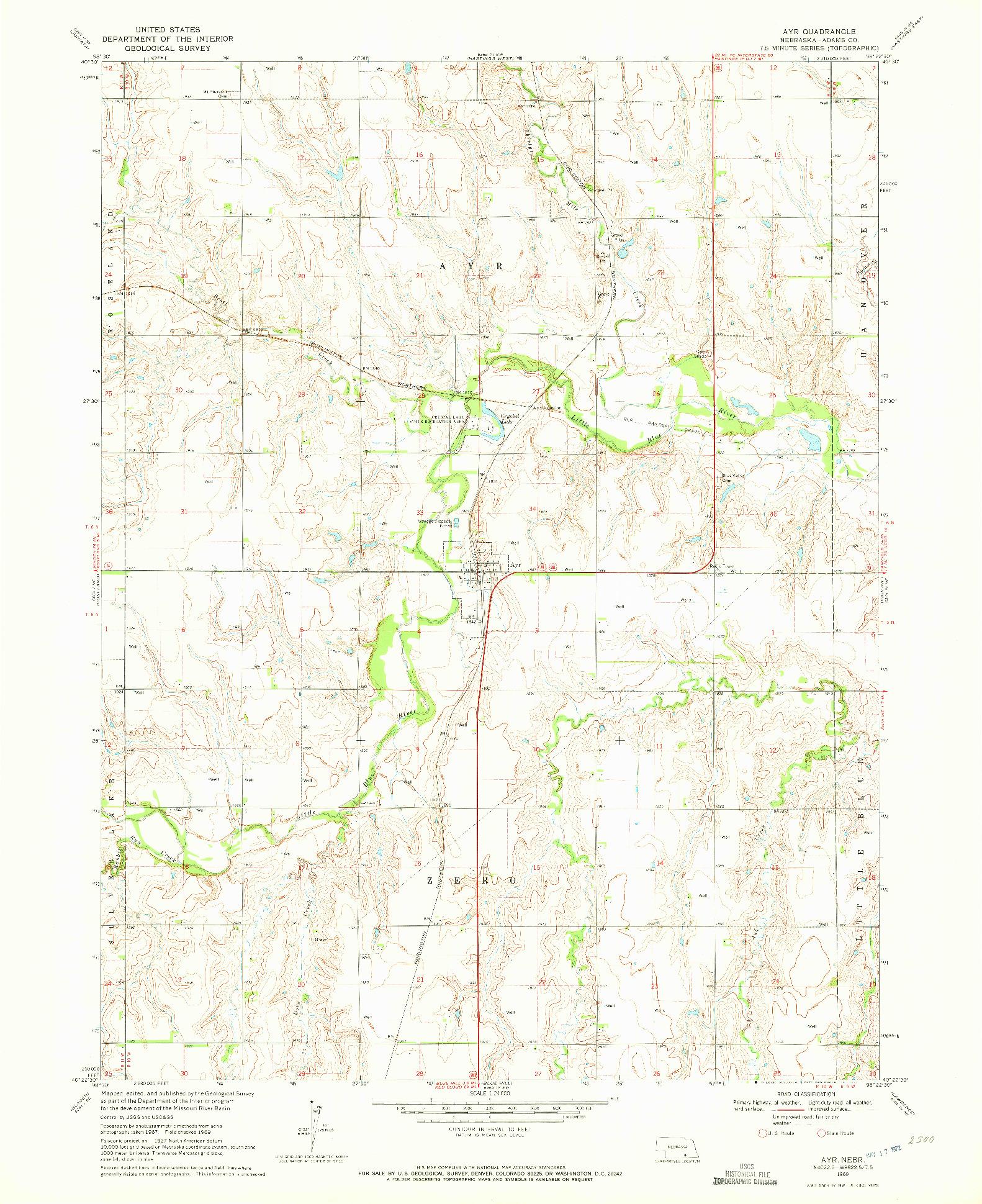 USGS 1:24000-SCALE QUADRANGLE FOR AYR, NE 1969