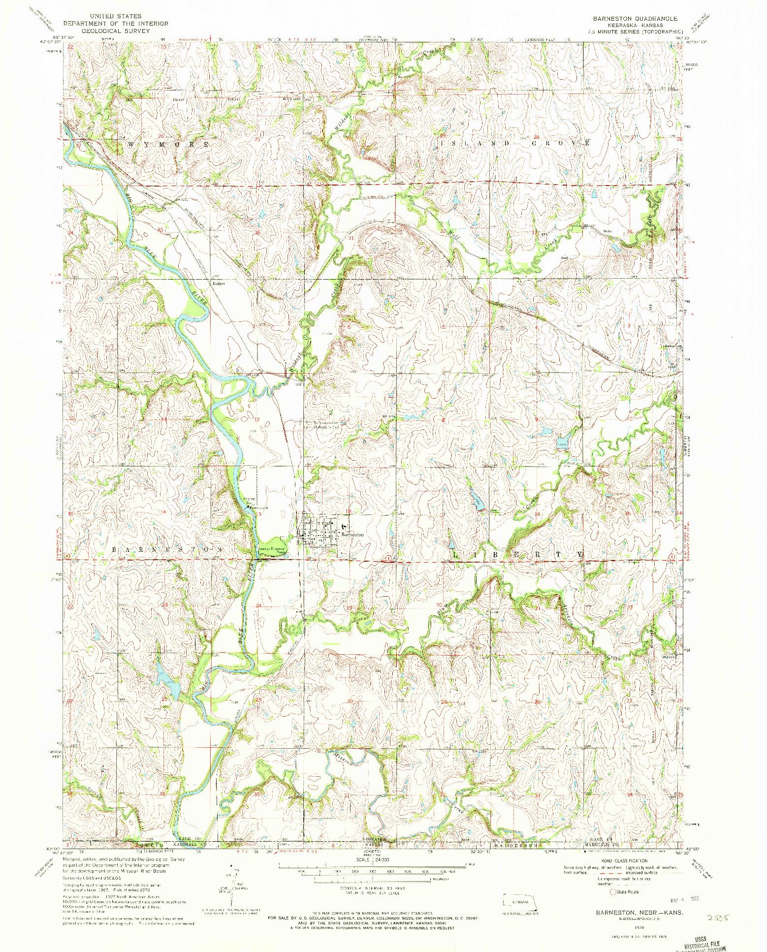 USGS 1:24000-SCALE QUADRANGLE FOR BARNESTON, NE 1970