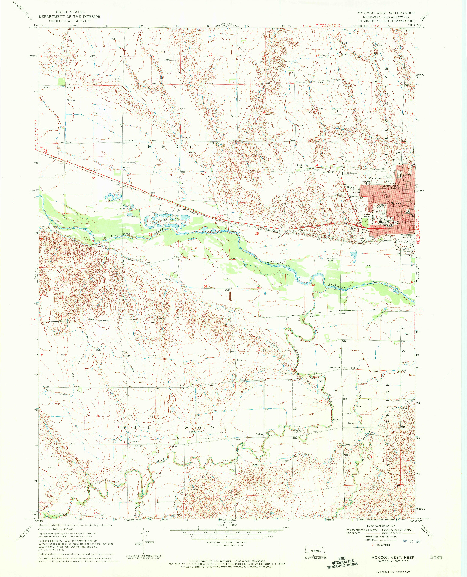 USGS 1:24000-SCALE QUADRANGLE FOR MCCOOK WEST, NE 1970