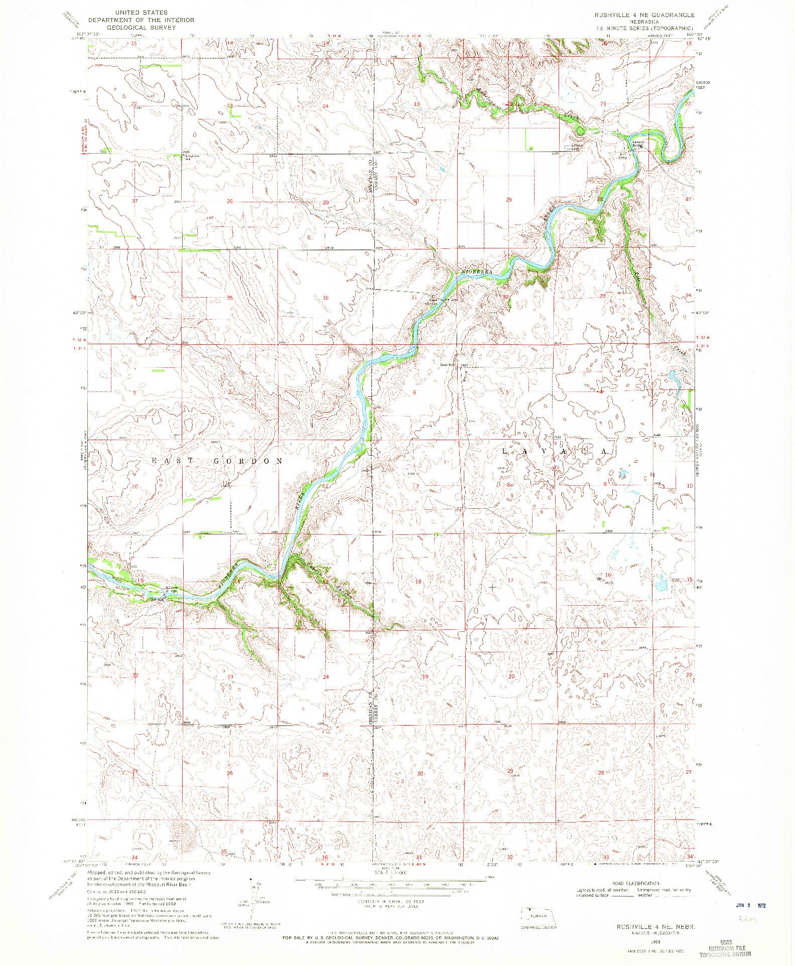 USGS 1:24000-SCALE QUADRANGLE FOR RUSHVILLE 4 NE, NE 1969