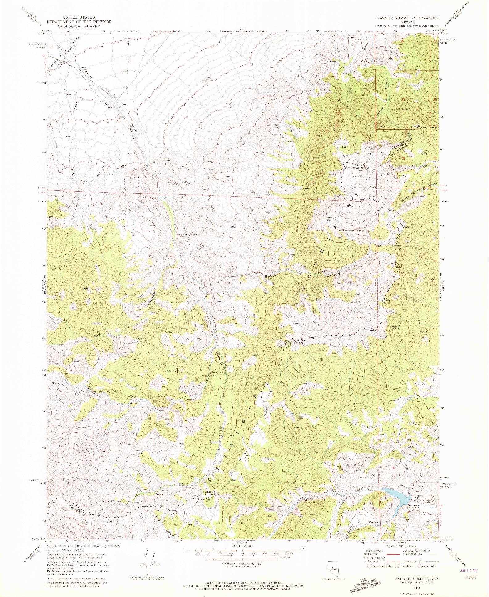 USGS 1:24000-SCALE QUADRANGLE FOR BASQUE SUMMIT, NV 1969