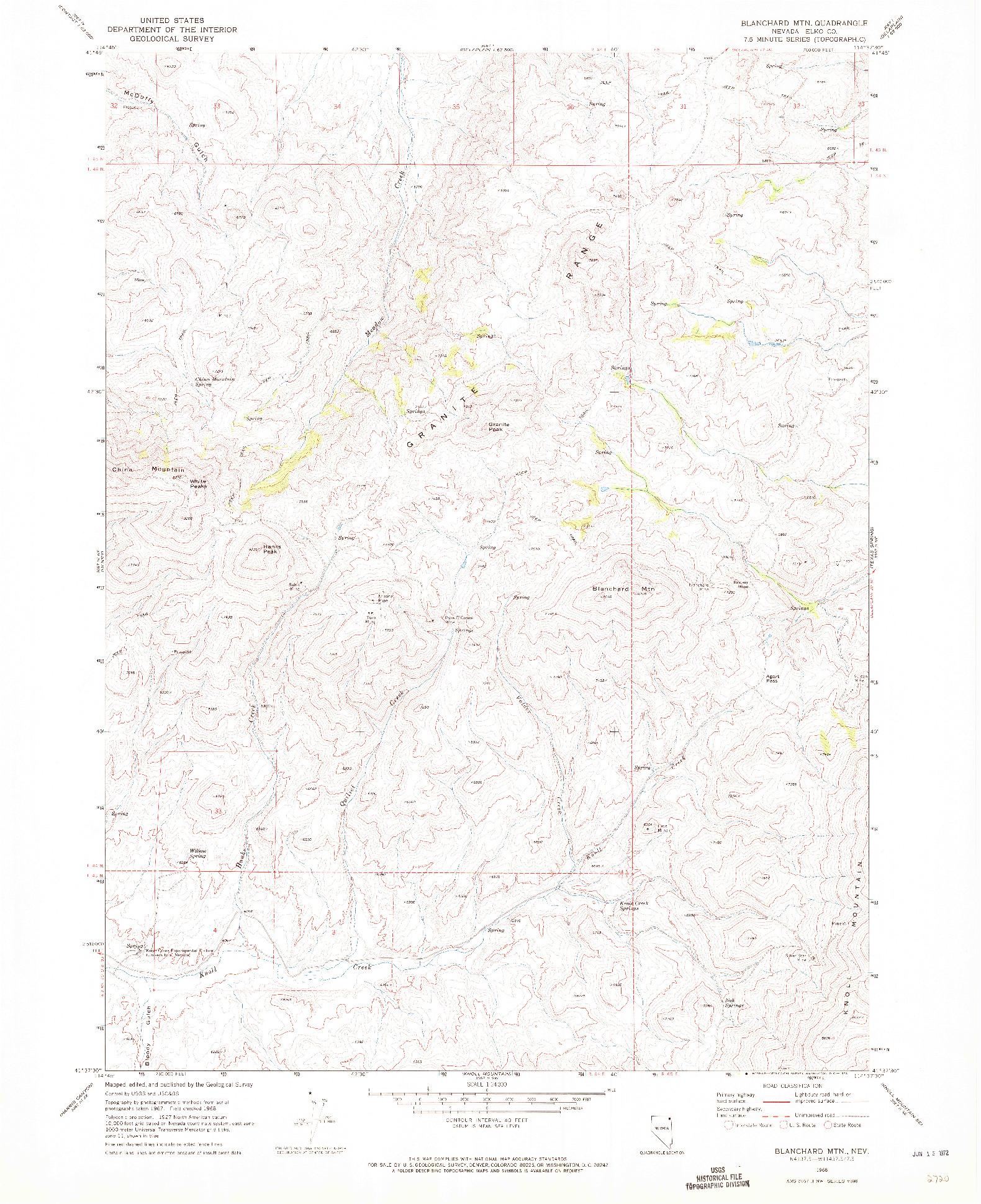USGS 1:24000-SCALE QUADRANGLE FOR BLANCHARD MTN, NV 1968