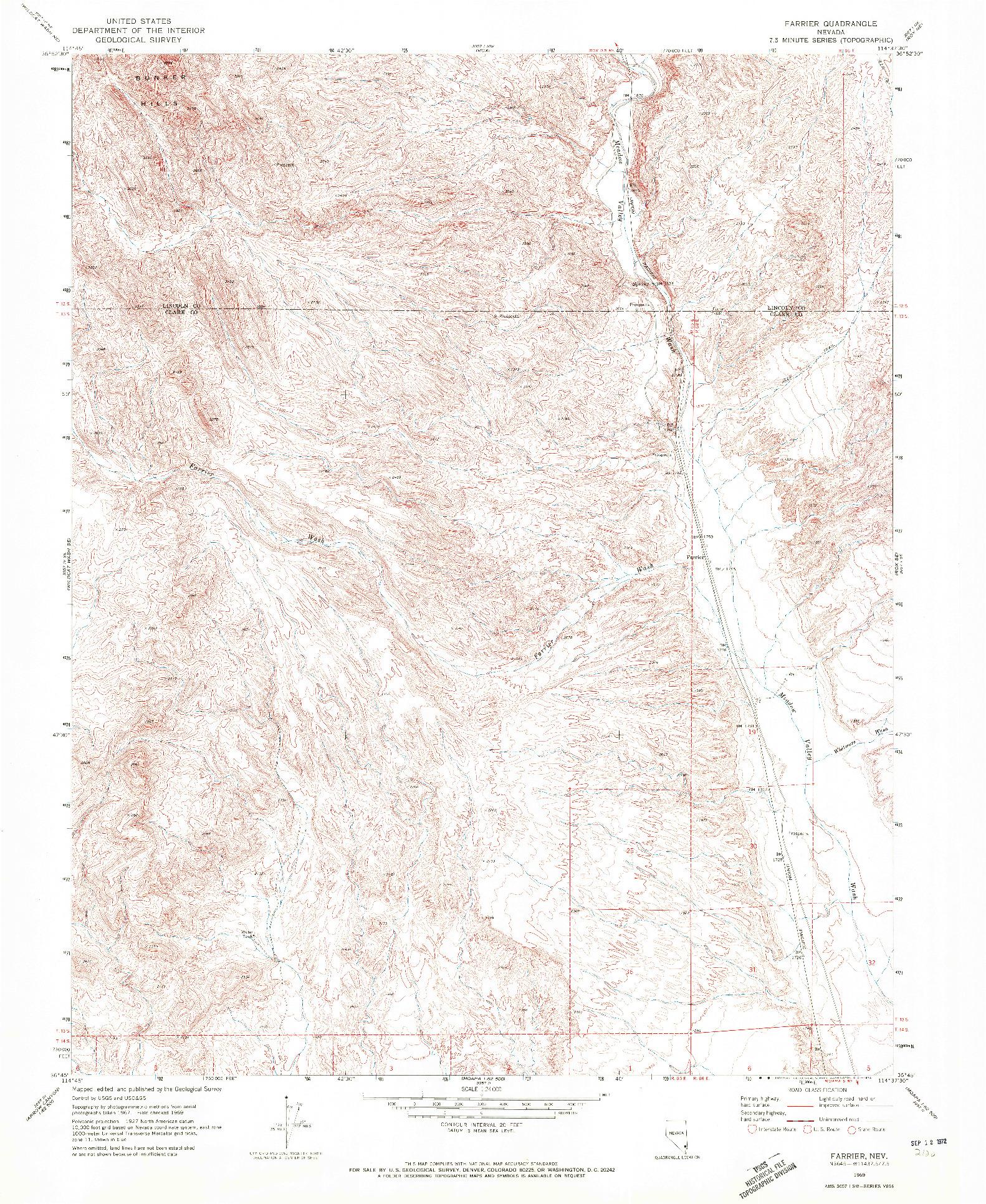 USGS 1:24000-SCALE QUADRANGLE FOR FARRIER, NV 1969
