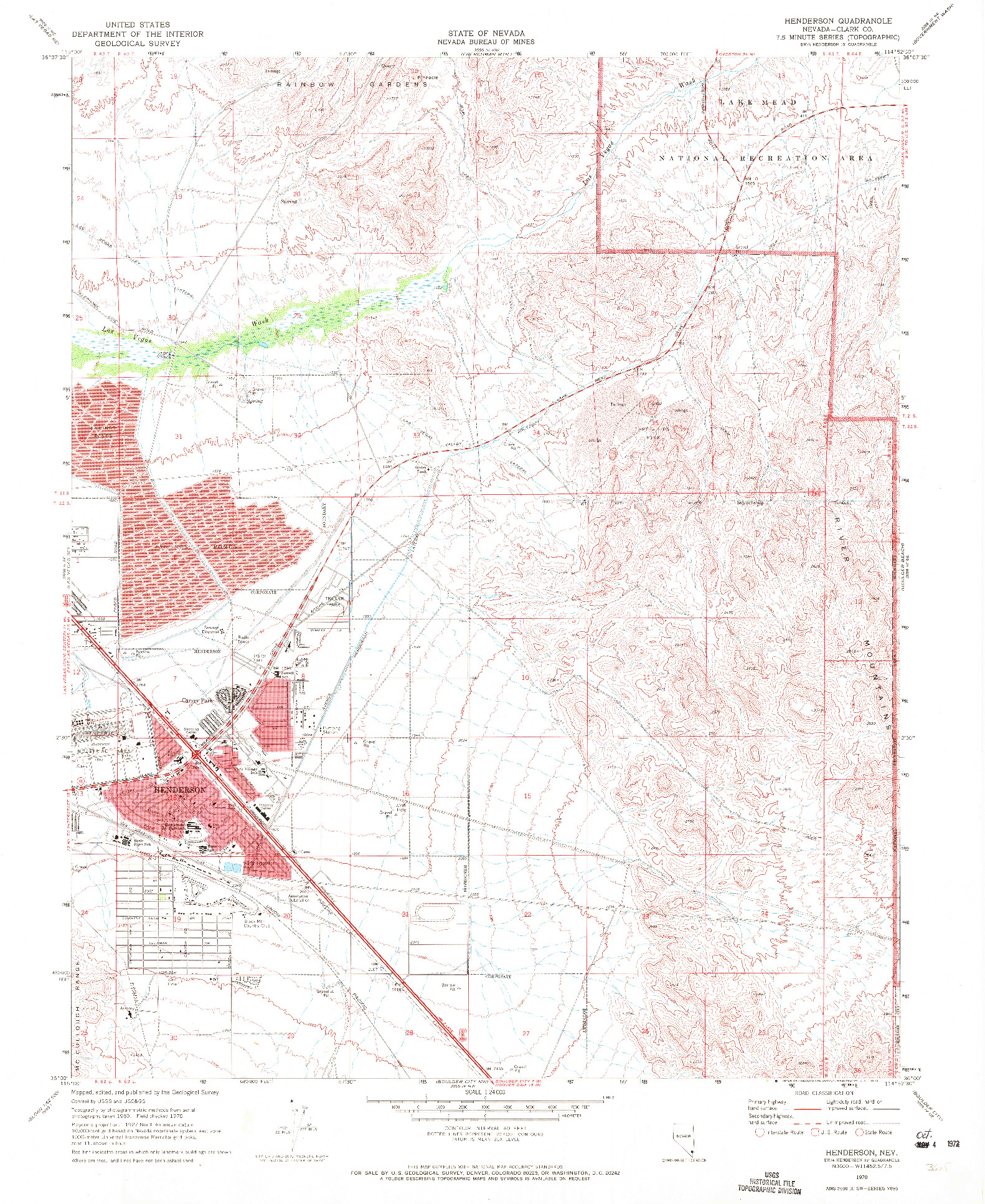 USGS 1:24000-SCALE QUADRANGLE FOR HENDERSON, NV 1970