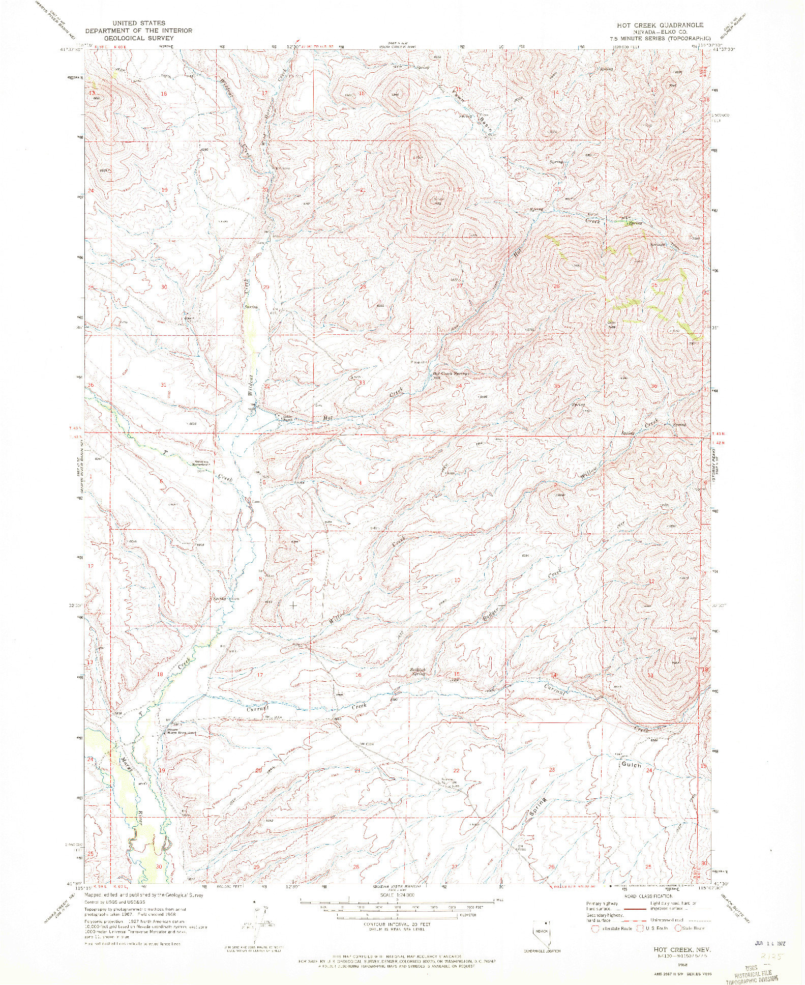USGS 1:24000-SCALE QUADRANGLE FOR HOT CREEK, NV 1968