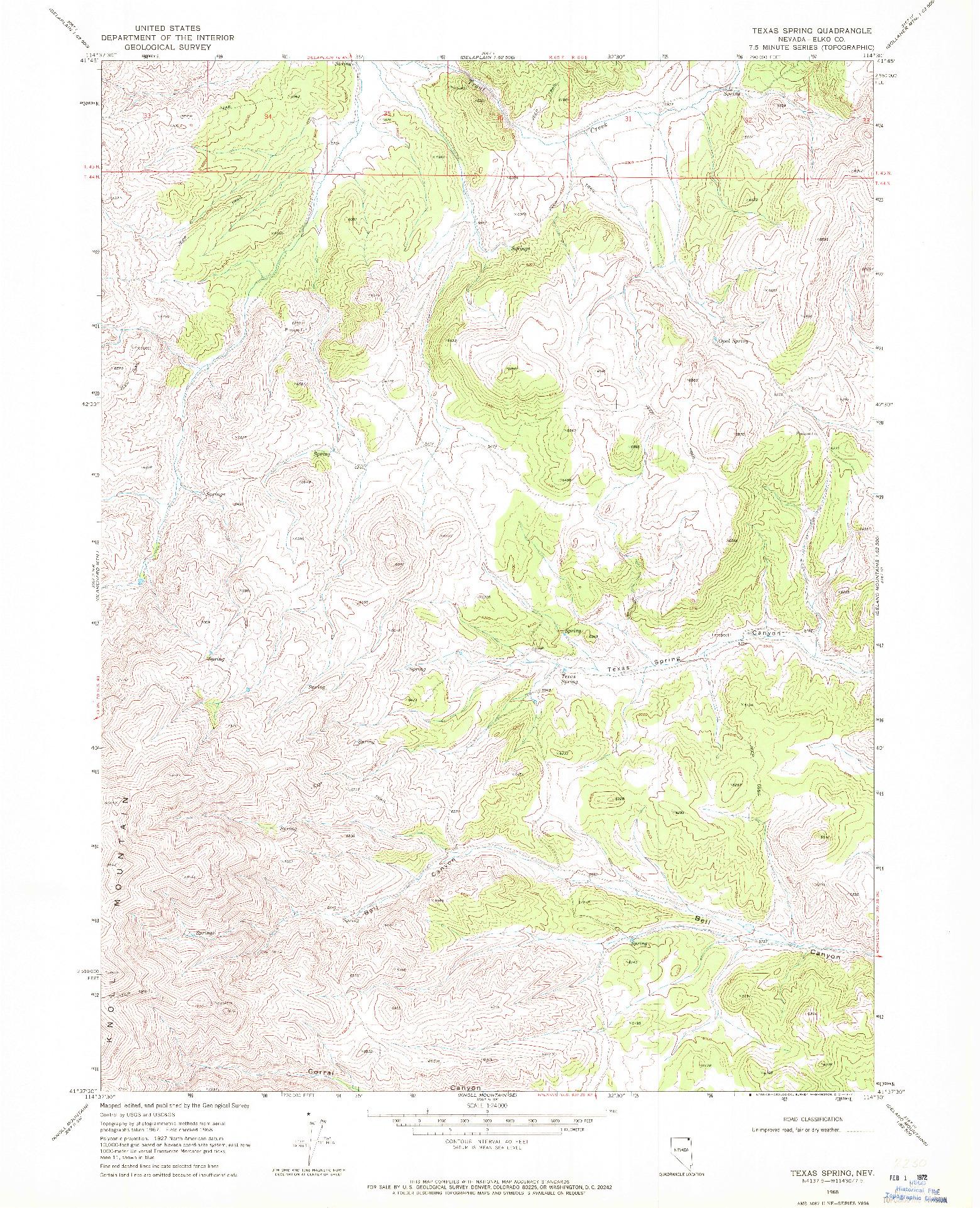 USGS 1:24000-SCALE QUADRANGLE FOR TEXAS SPRING, NV 1968