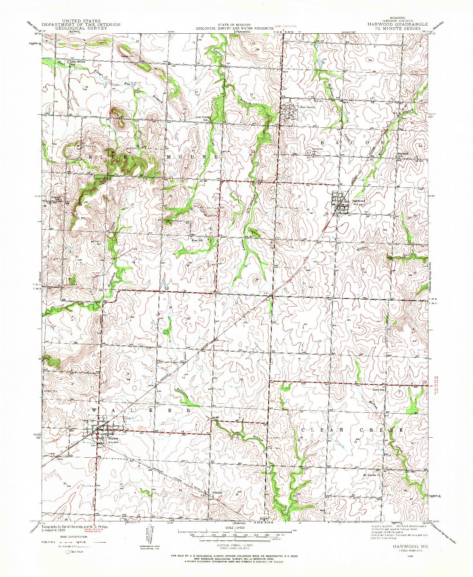 USGS 1:24000-SCALE QUADRANGLE FOR HARWOOD, MO 1939