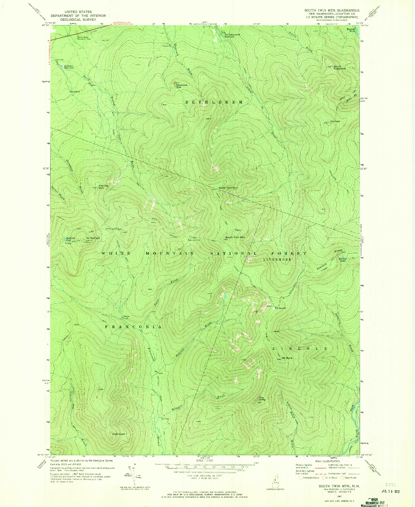USGS 1:24000-SCALE QUADRANGLE FOR SOUTH TWIN MTN, NH 1967