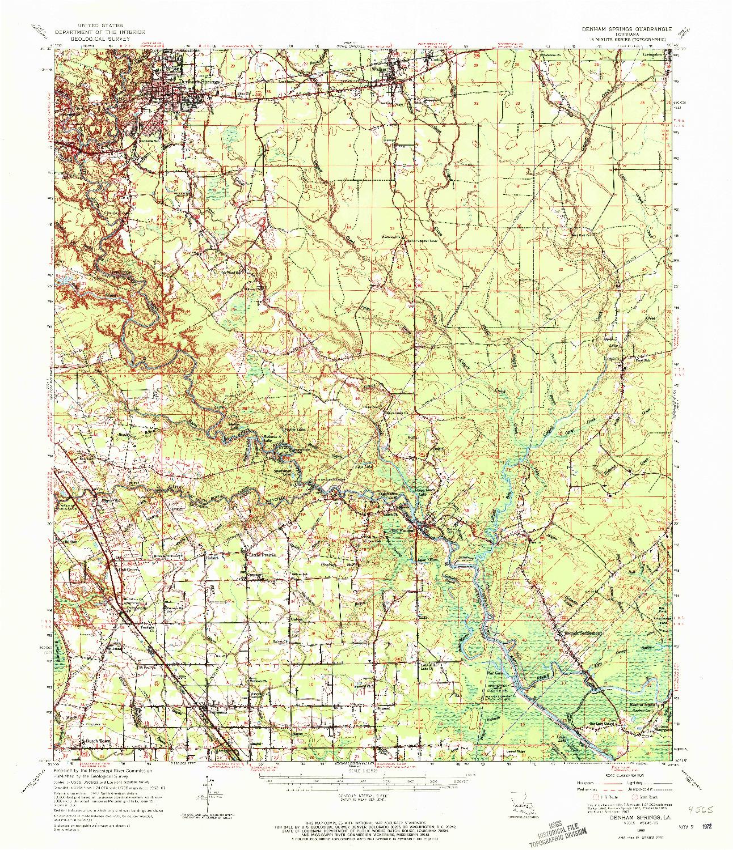 USGS 1:62500-SCALE QUADRANGLE FOR DENHAM SPRINGS, LA 1963