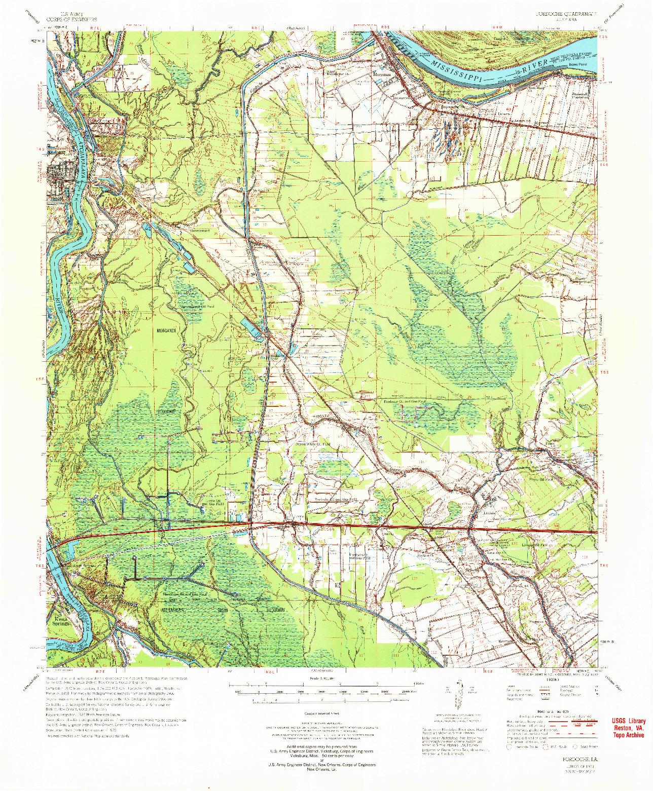 USGS 1:62500-SCALE QUADRANGLE FOR FORDOCHE, LA 1970