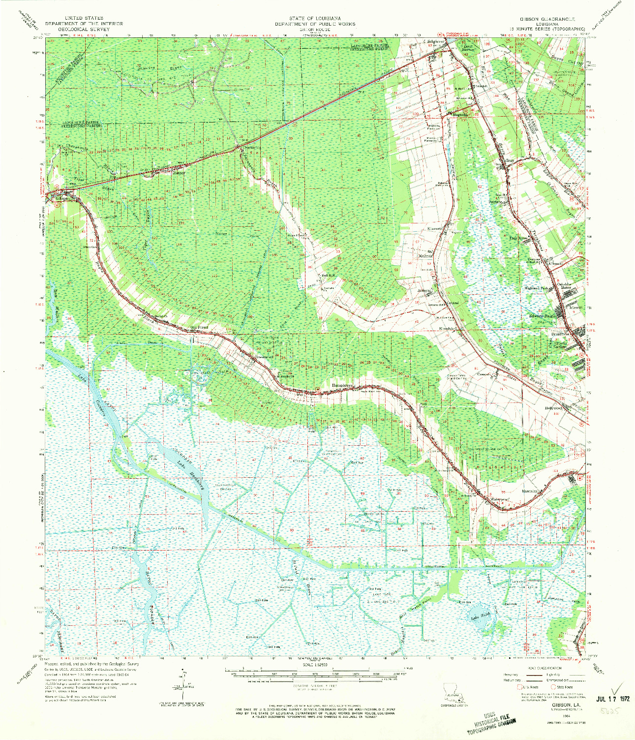 USGS 1:62500-SCALE QUADRANGLE FOR GIBSON, LA 1964