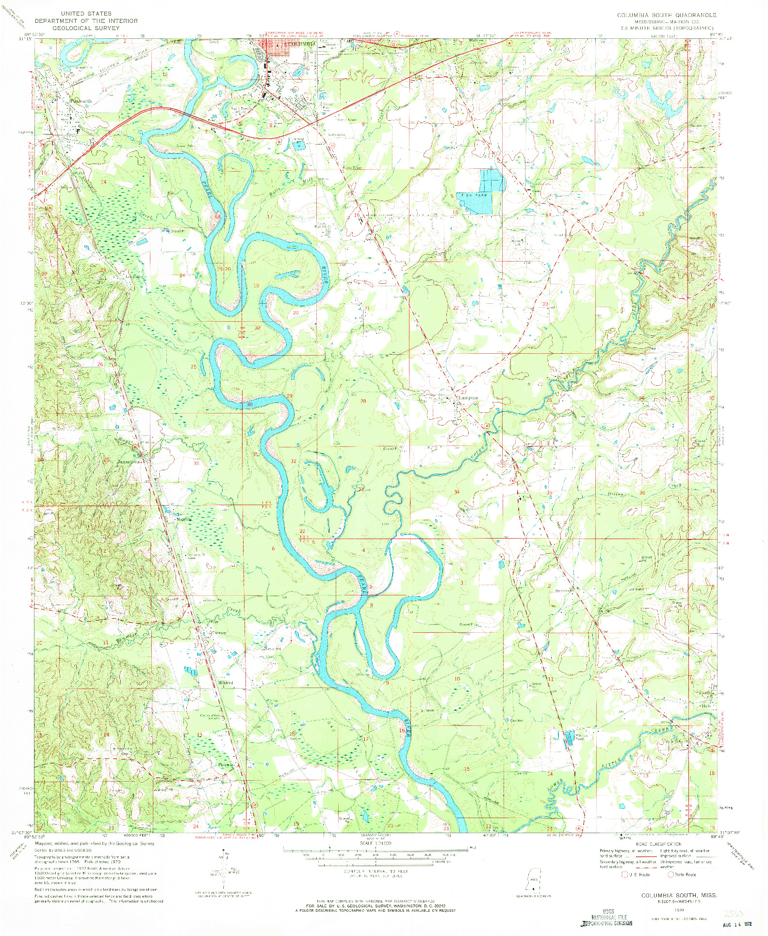 USGS 1:24000-SCALE QUADRANGLE FOR COLUMBIA SOUTH, MS 1970
