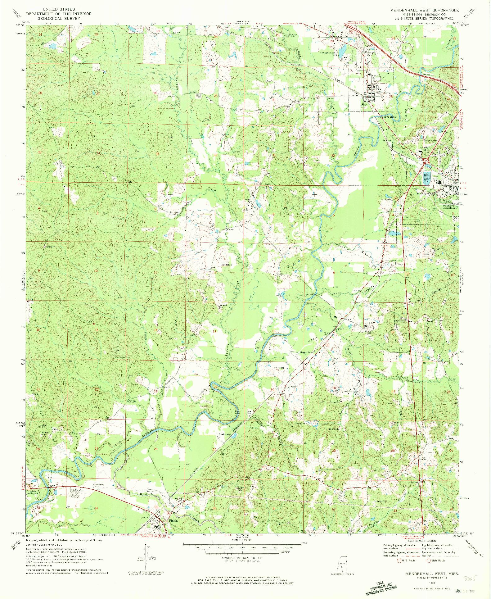 USGS 1:24000-SCALE QUADRANGLE FOR MENDENHALL WEST, MS 1970