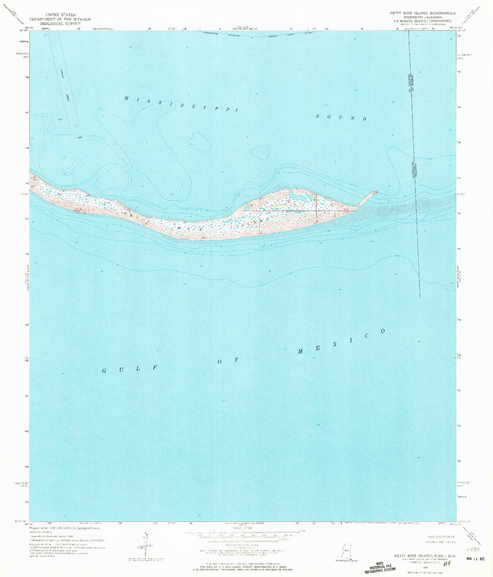 USGS 1:24000-SCALE QUADRANGLE FOR PETIT BOIS ISLAND, MS 1958