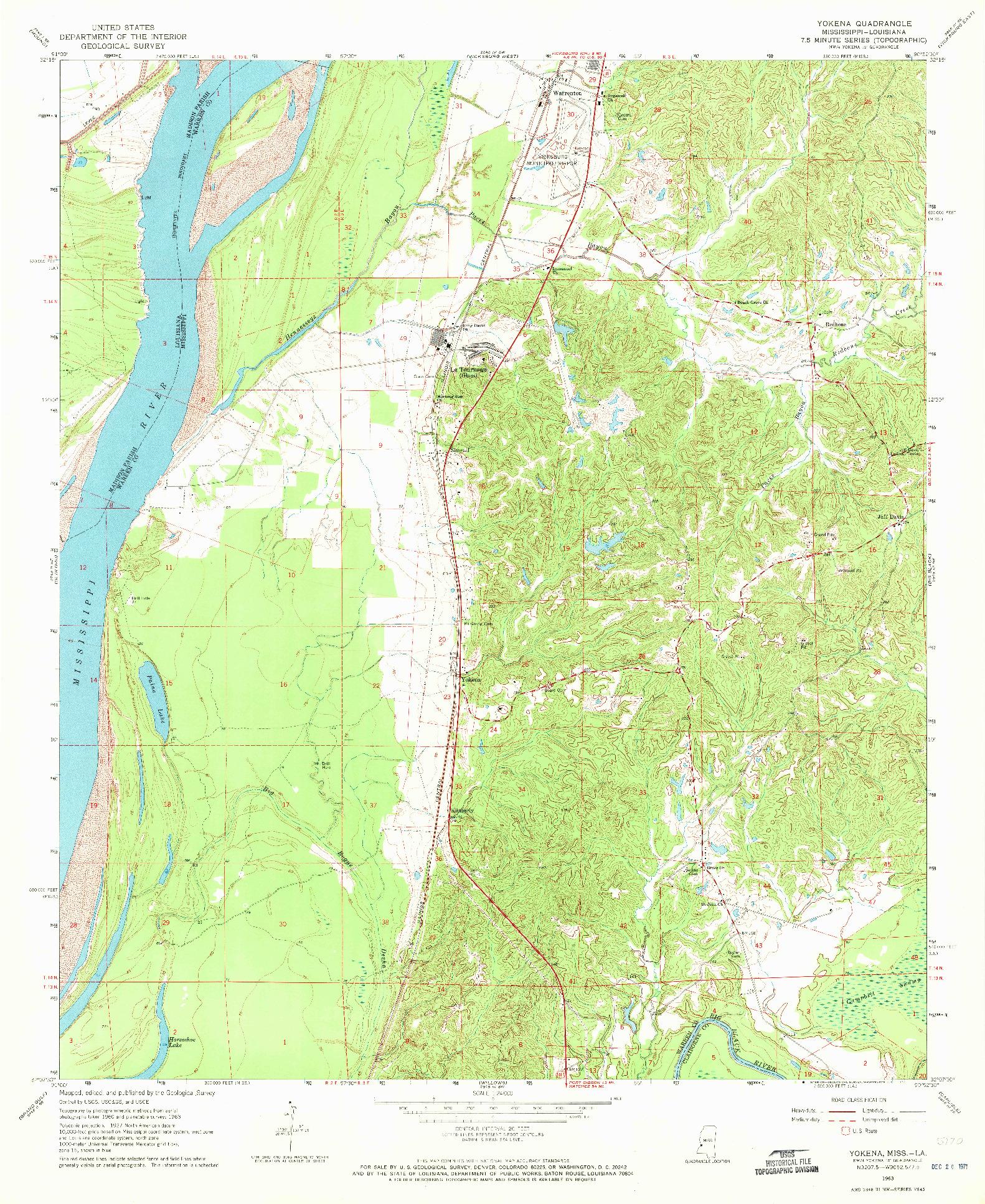 USGS 1:24000-SCALE QUADRANGLE FOR YOKENA, MS 1963
