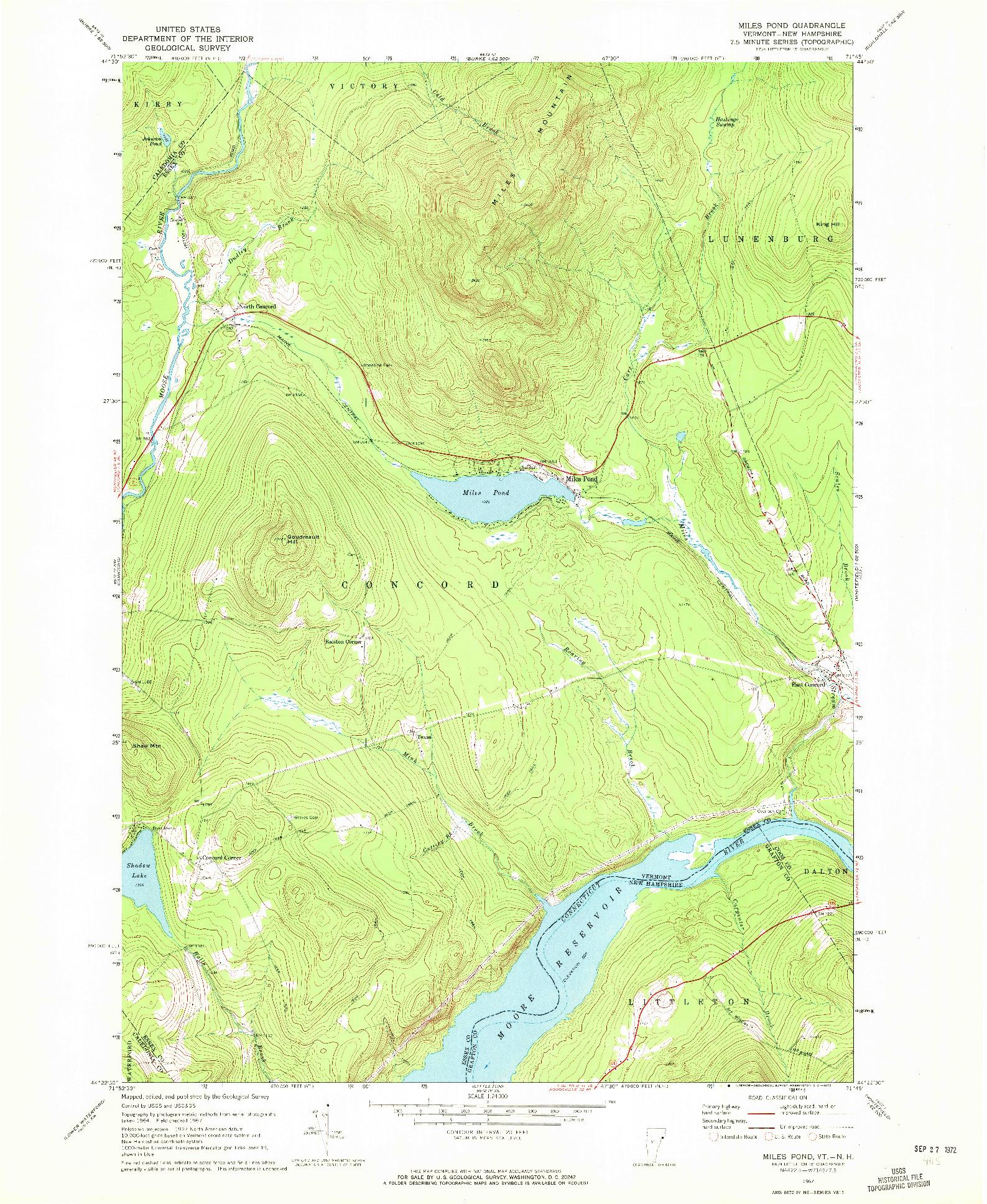 USGS 1:24000-SCALE QUADRANGLE FOR MILES POND, VT 1967