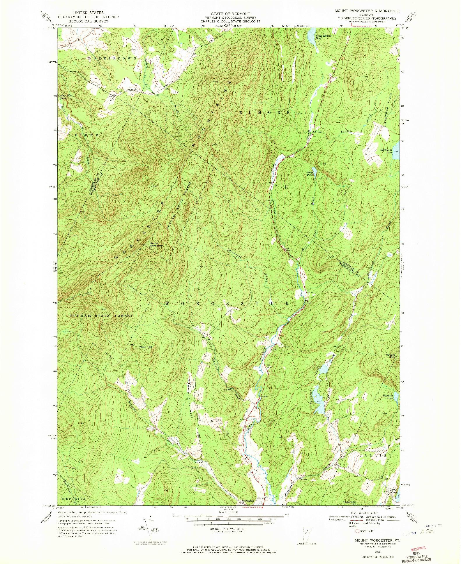 USGS 1:24000-SCALE QUADRANGLE FOR MOUNT WORCESTER, VT 1968