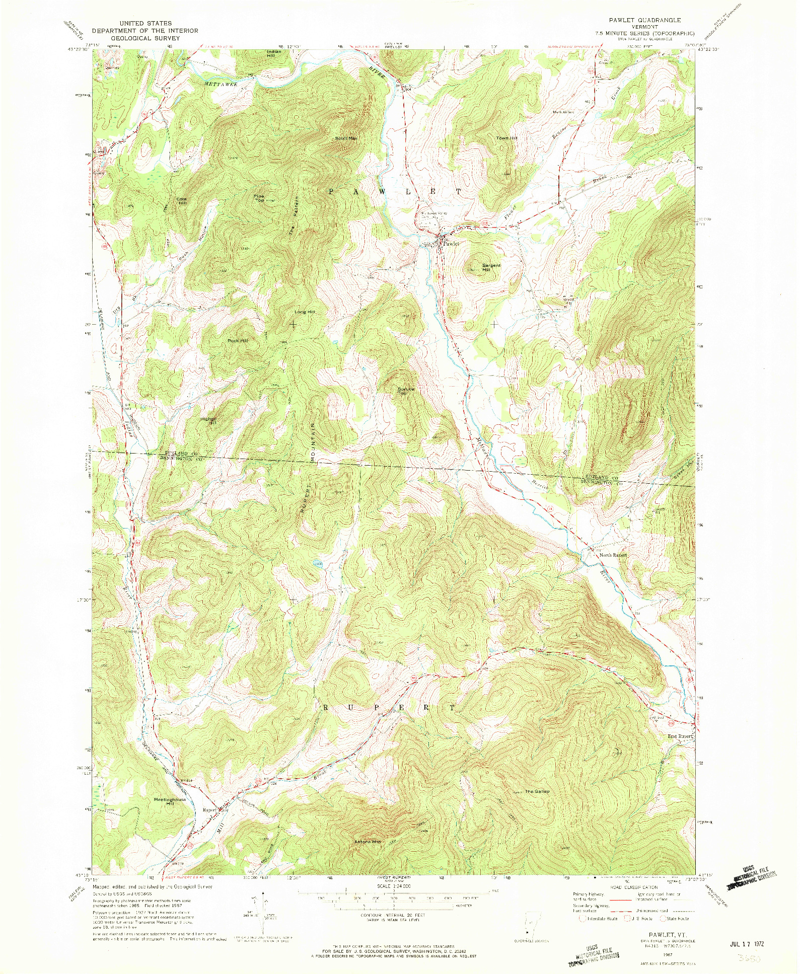 USGS 1:24000-SCALE QUADRANGLE FOR PAWLET, VT 1967