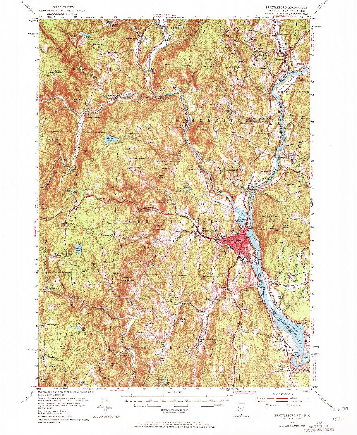 USGS 1:62500-SCALE QUADRANGLE FOR BRATTLEBORO, VT 1954