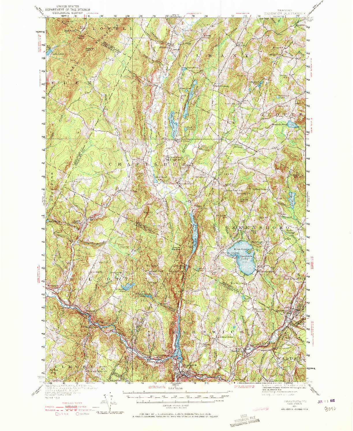 USGS 1:62500-SCALE QUADRANGLE FOR HARDWICK, VT 1951