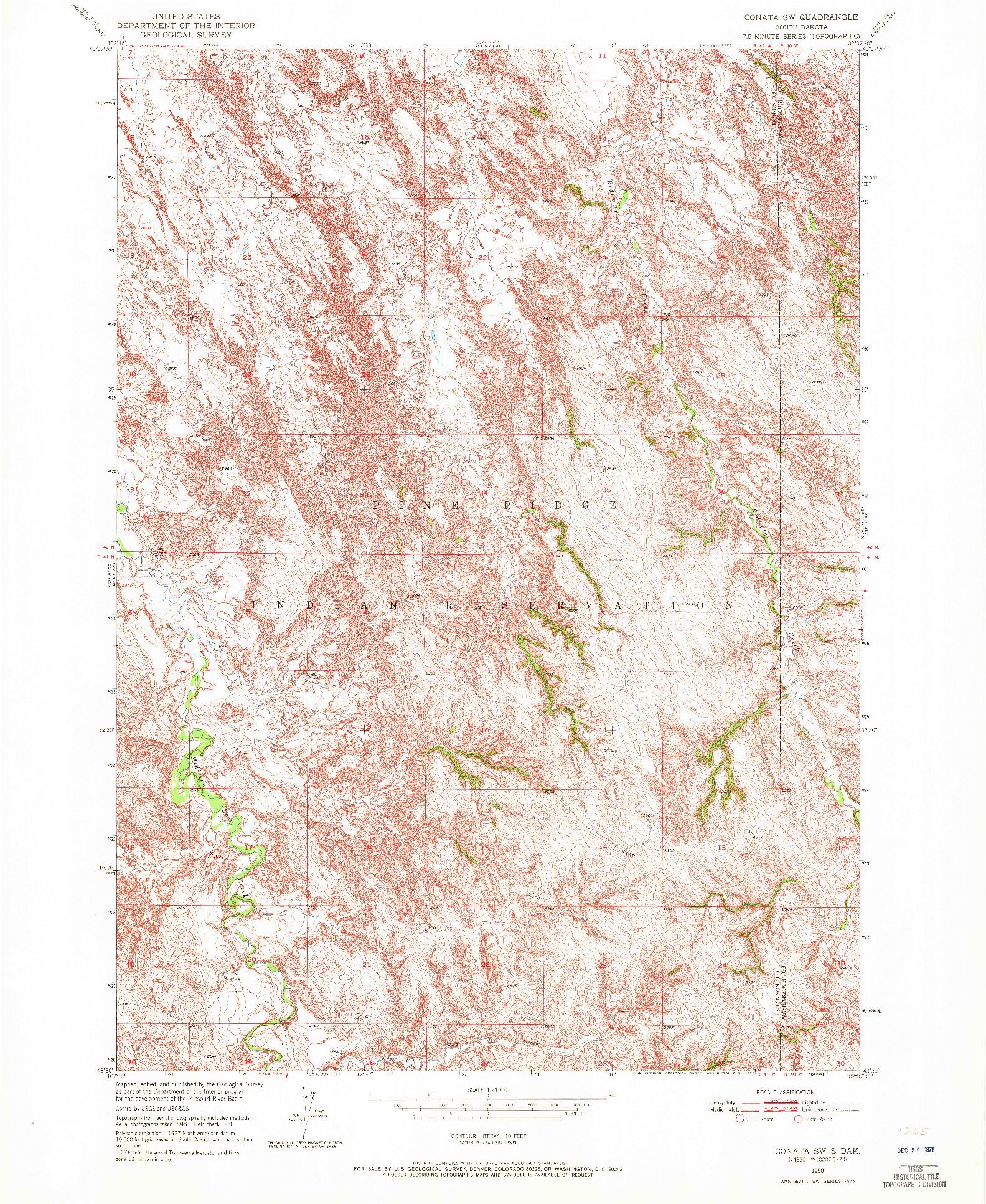 USGS 1:24000-SCALE QUADRANGLE FOR CONATA SW, SD 1950
