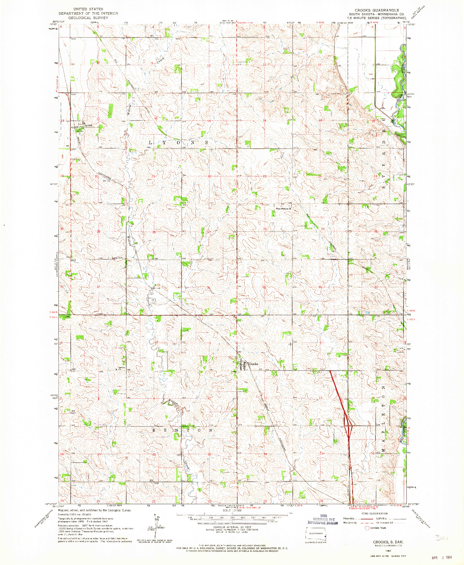 USGS 1:24000-SCALE QUADRANGLE FOR CROOKS, SD 1962