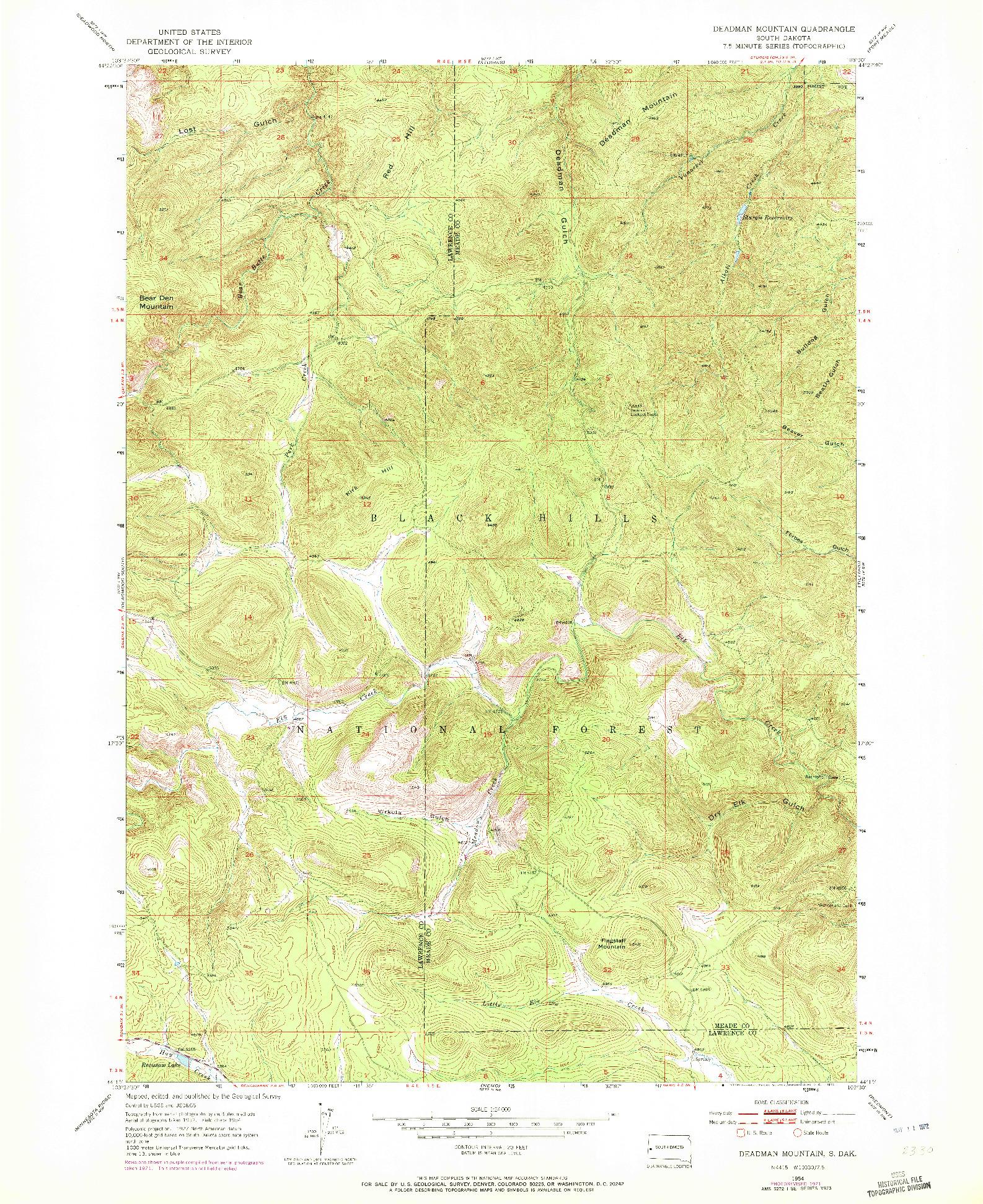 USGS 1:24000-SCALE QUADRANGLE FOR DEADMAN MOUNTAIN, SD 1954