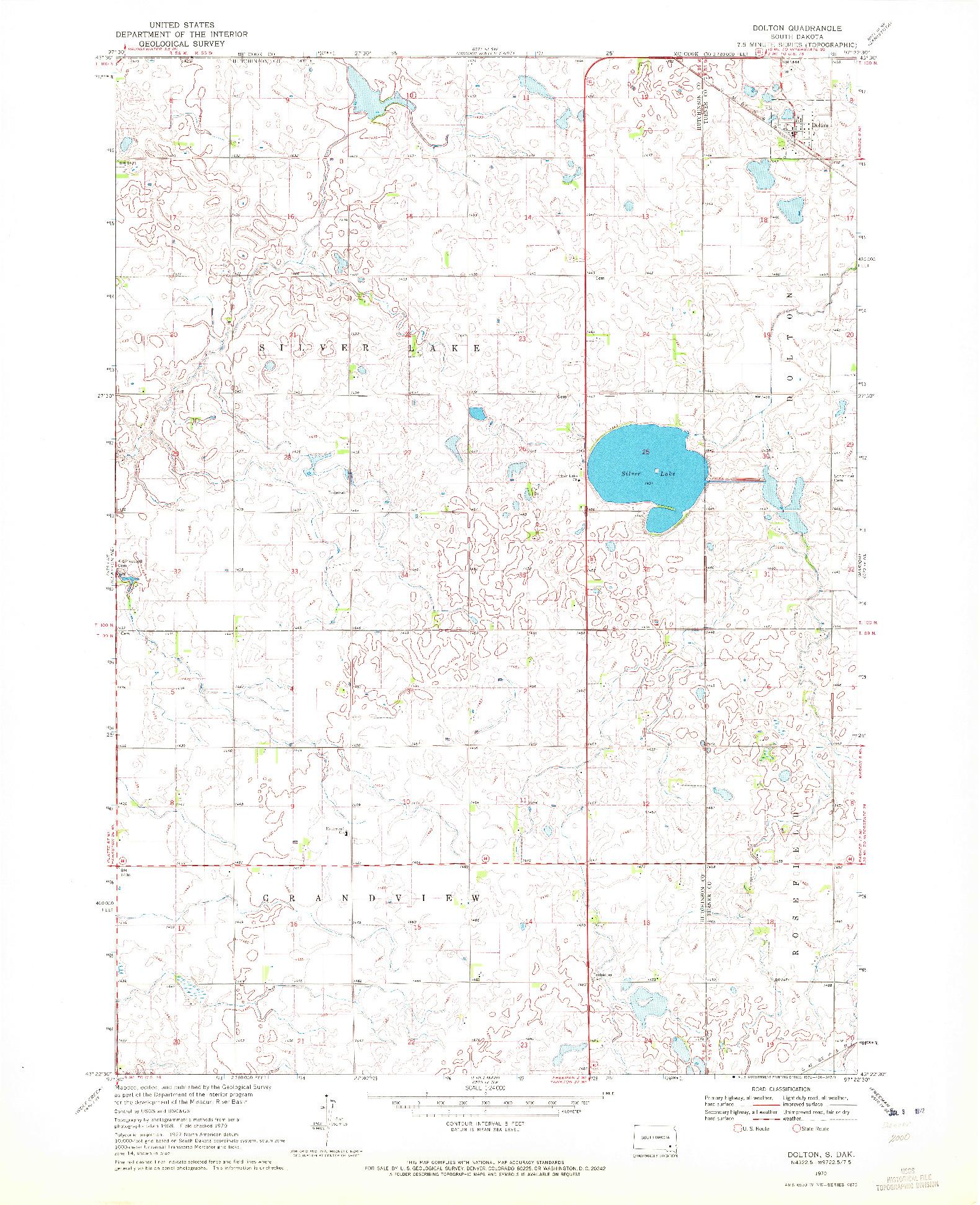 USGS 1:24000-SCALE QUADRANGLE FOR DOLTON, SD 1970