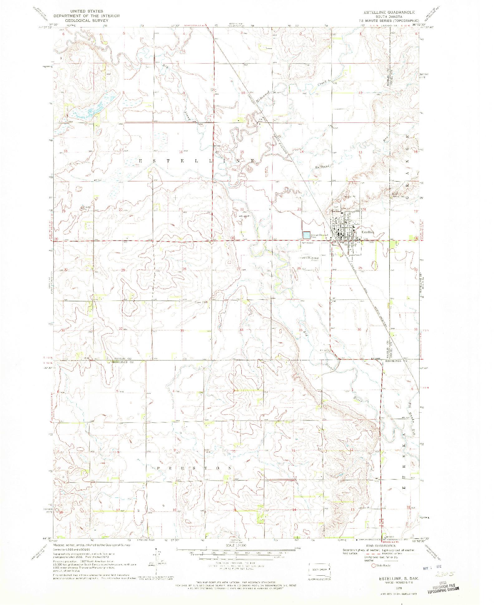 USGS 1:24000-SCALE QUADRANGLE FOR ESTELLINE, SD 1970