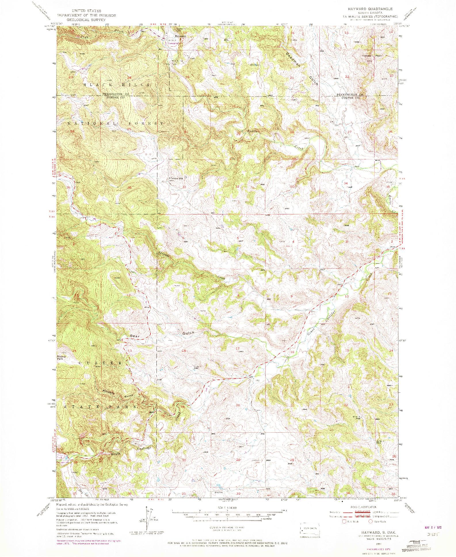 USGS 1:24000-SCALE QUADRANGLE FOR HAYWARD, SD 1954