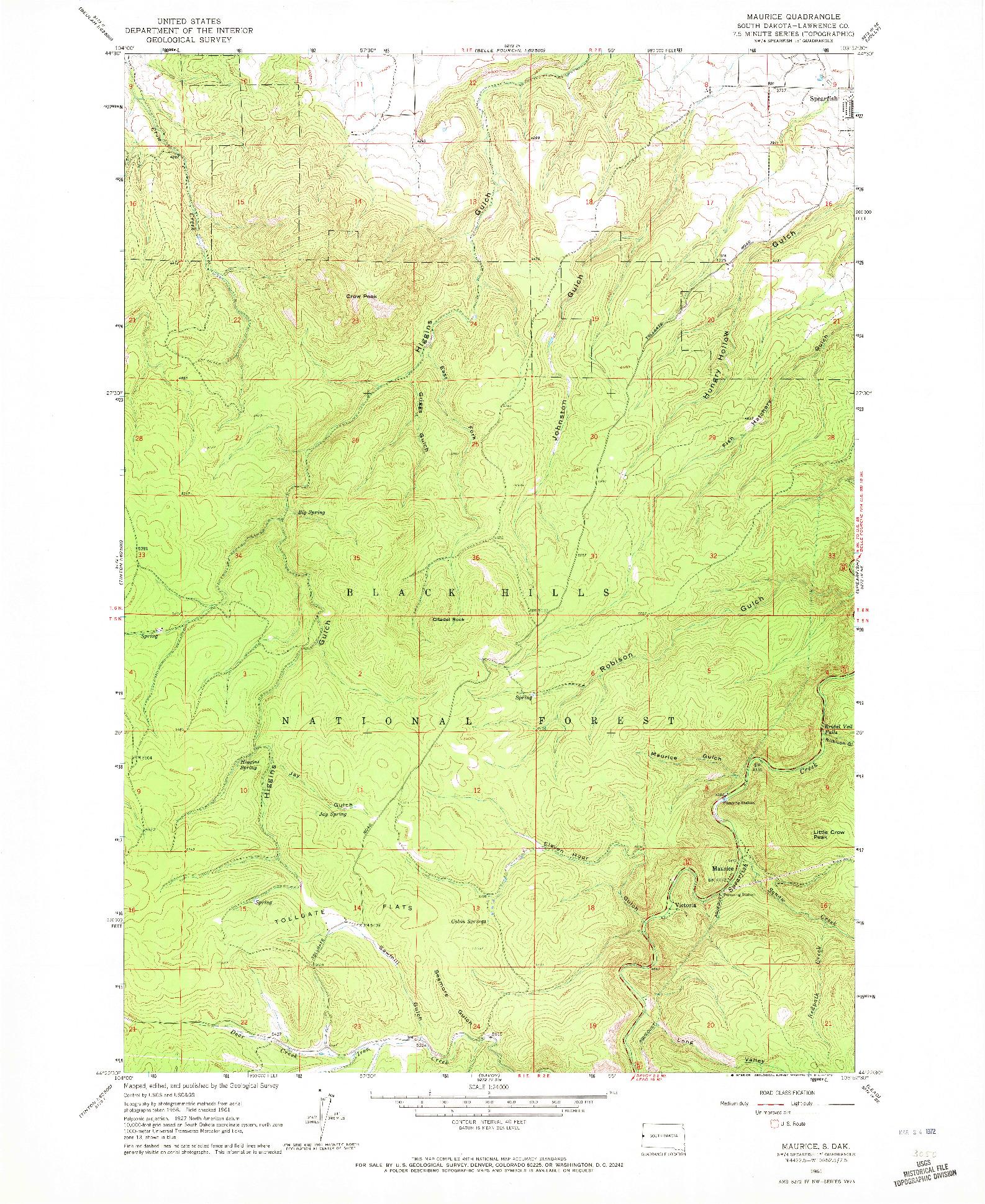 USGS 1:24000-SCALE QUADRANGLE FOR MAURICE, SD 1961
