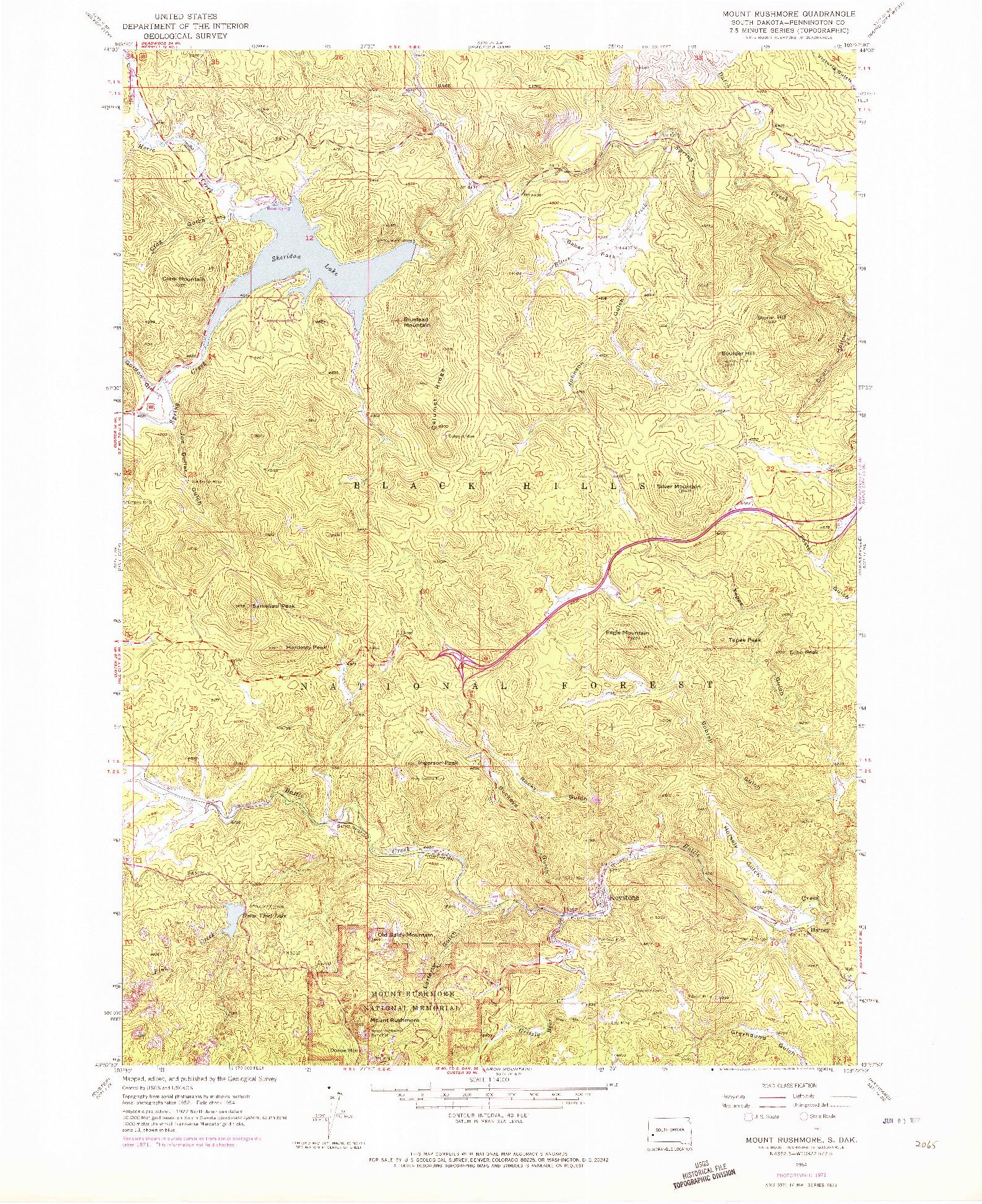 USGS 1:24000-SCALE QUADRANGLE FOR MOUNT RUSHMORE, SD 1954