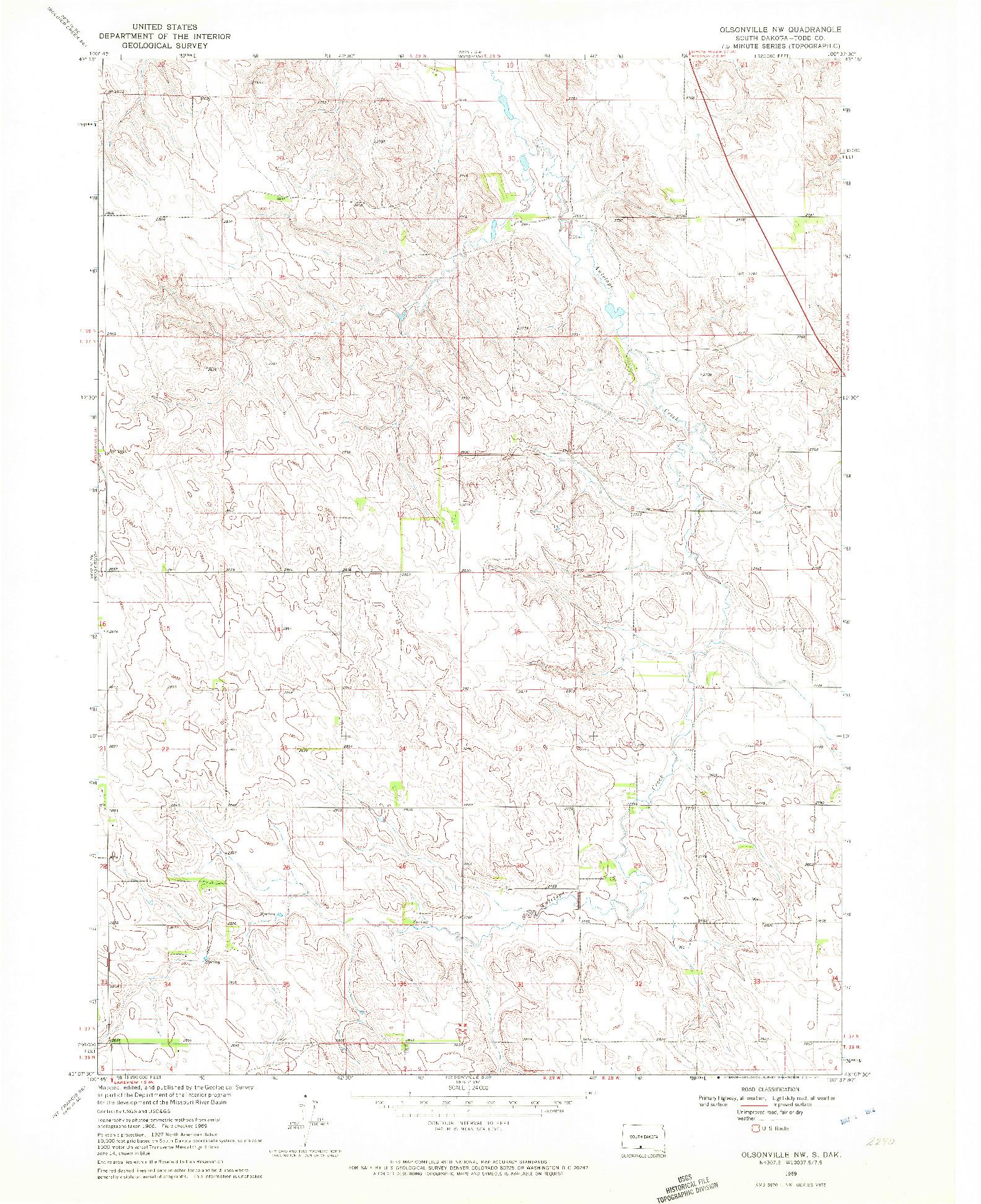 USGS 1:24000-SCALE QUADRANGLE FOR OLSONVILLE NW, SD 1969