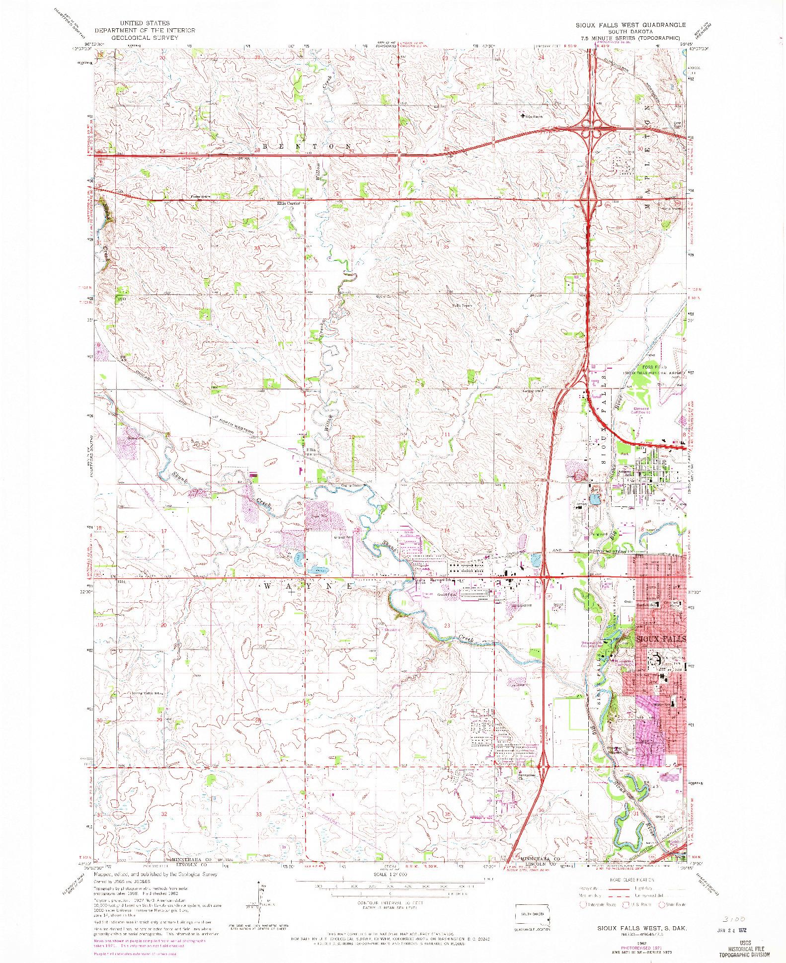 USGS 1:24000-SCALE QUADRANGLE FOR SIOUX FALLS WEST, SD 1962