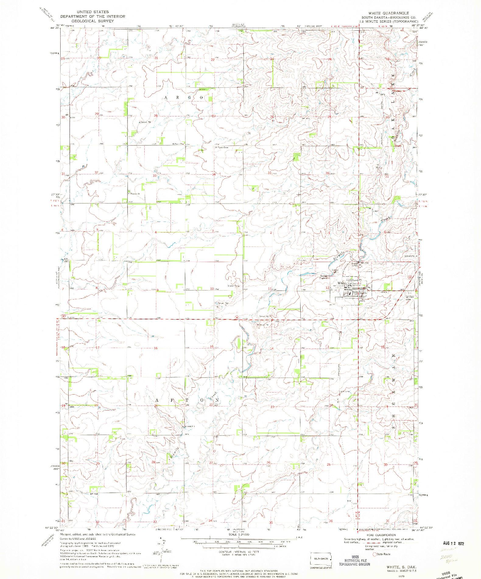 USGS 1:24000-SCALE QUADRANGLE FOR WHITE, SD 1970
