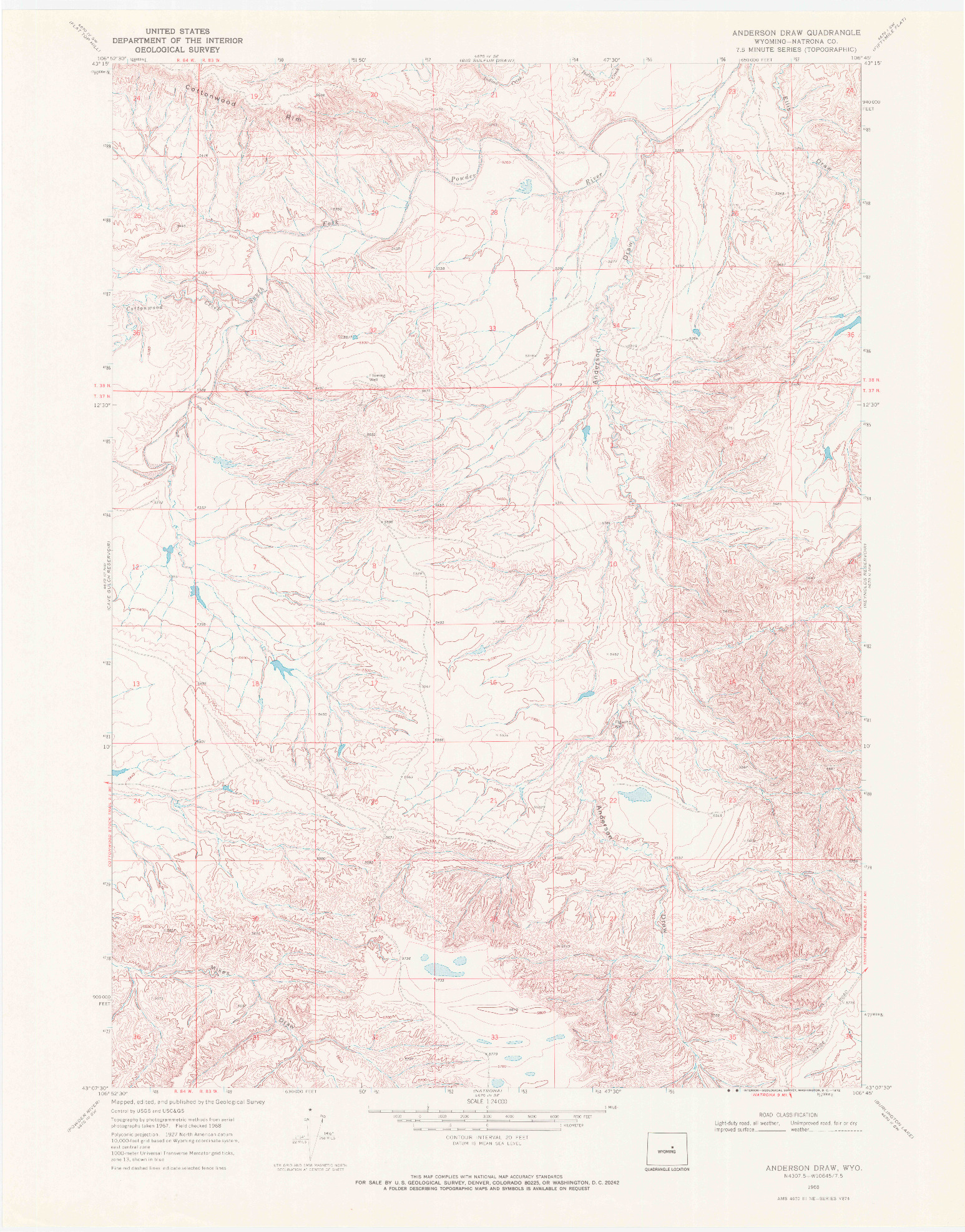 USGS 1:24000-SCALE QUADRANGLE FOR ANDERSON DRAW, WY 1968