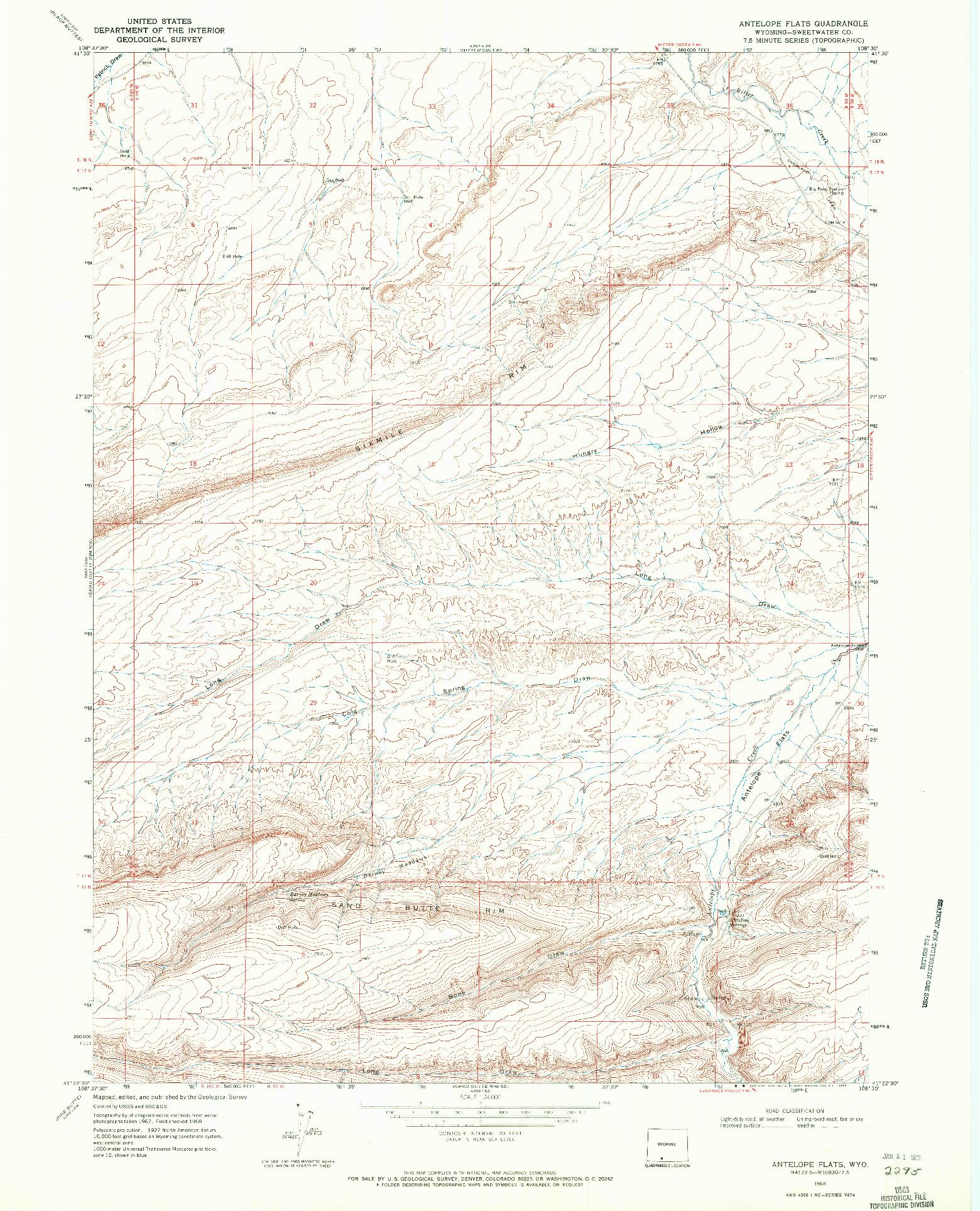 USGS 1:24000-SCALE QUADRANGLE FOR ANTELOPE FLATS, WY 1968