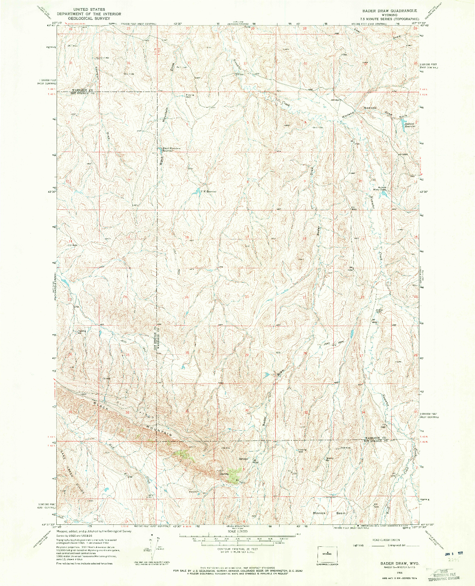 USGS 1:24000-SCALE QUADRANGLE FOR BADER DRAW, WY 1966