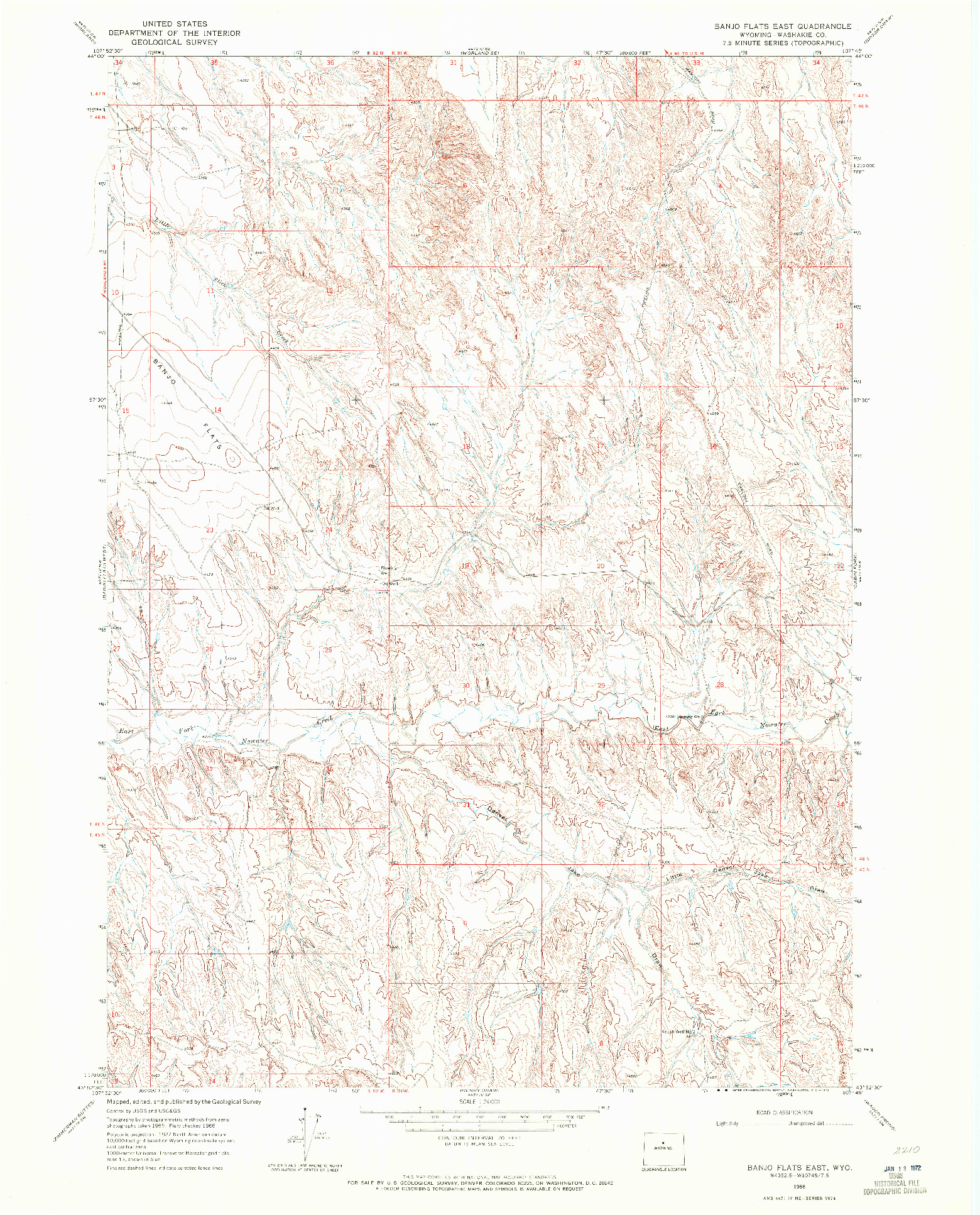 USGS 1:24000-SCALE QUADRANGLE FOR BANJO FLATS EAST, WY 1966