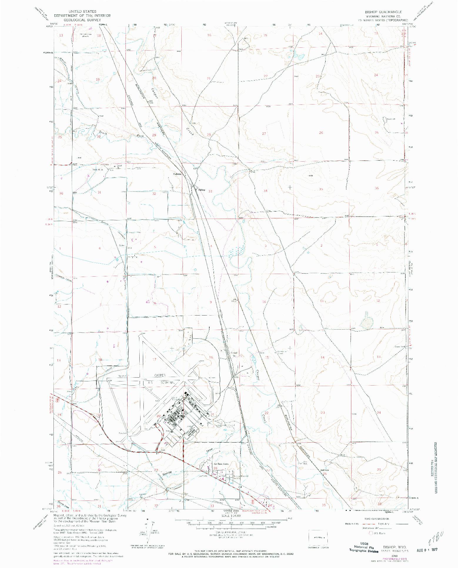 USGS 1:24000-SCALE QUADRANGLE FOR BISHOP, WY 1960