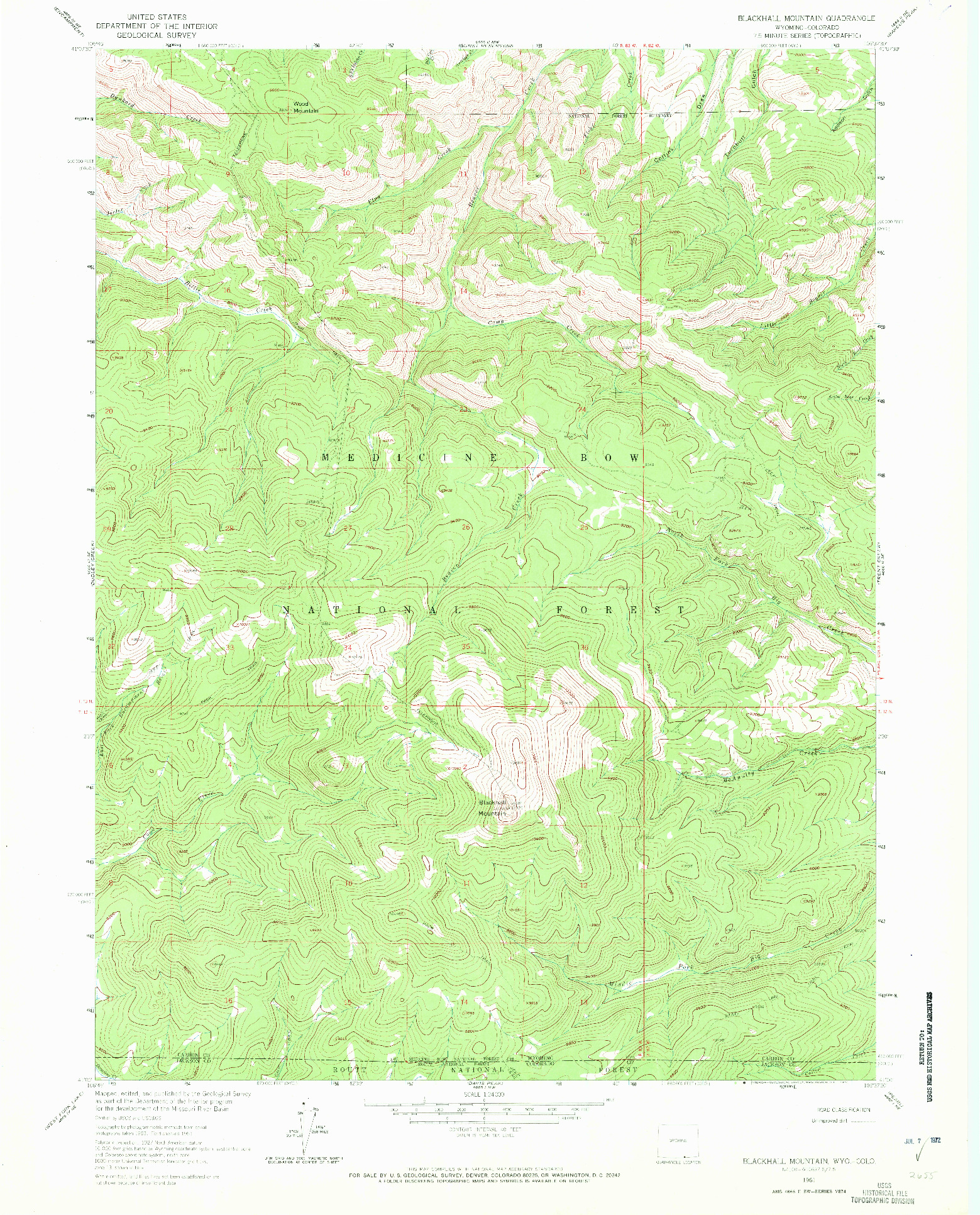 USGS 1:24000-SCALE QUADRANGLE FOR BLACKHALL MOUNTAIN, WY 1961